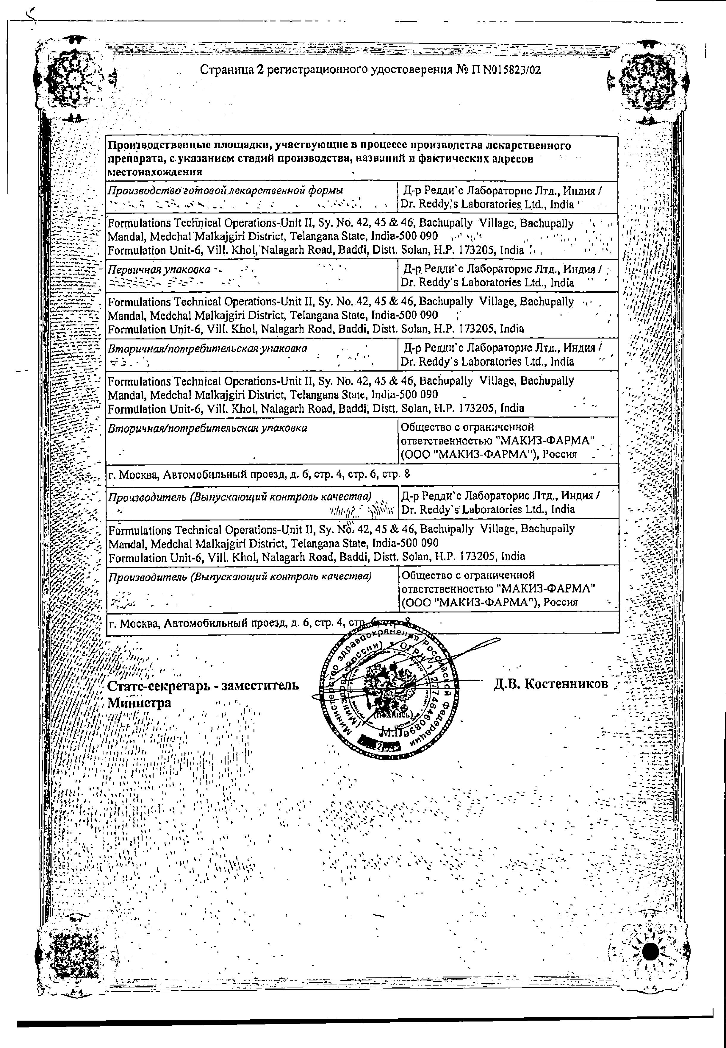 Кеторол сертификат