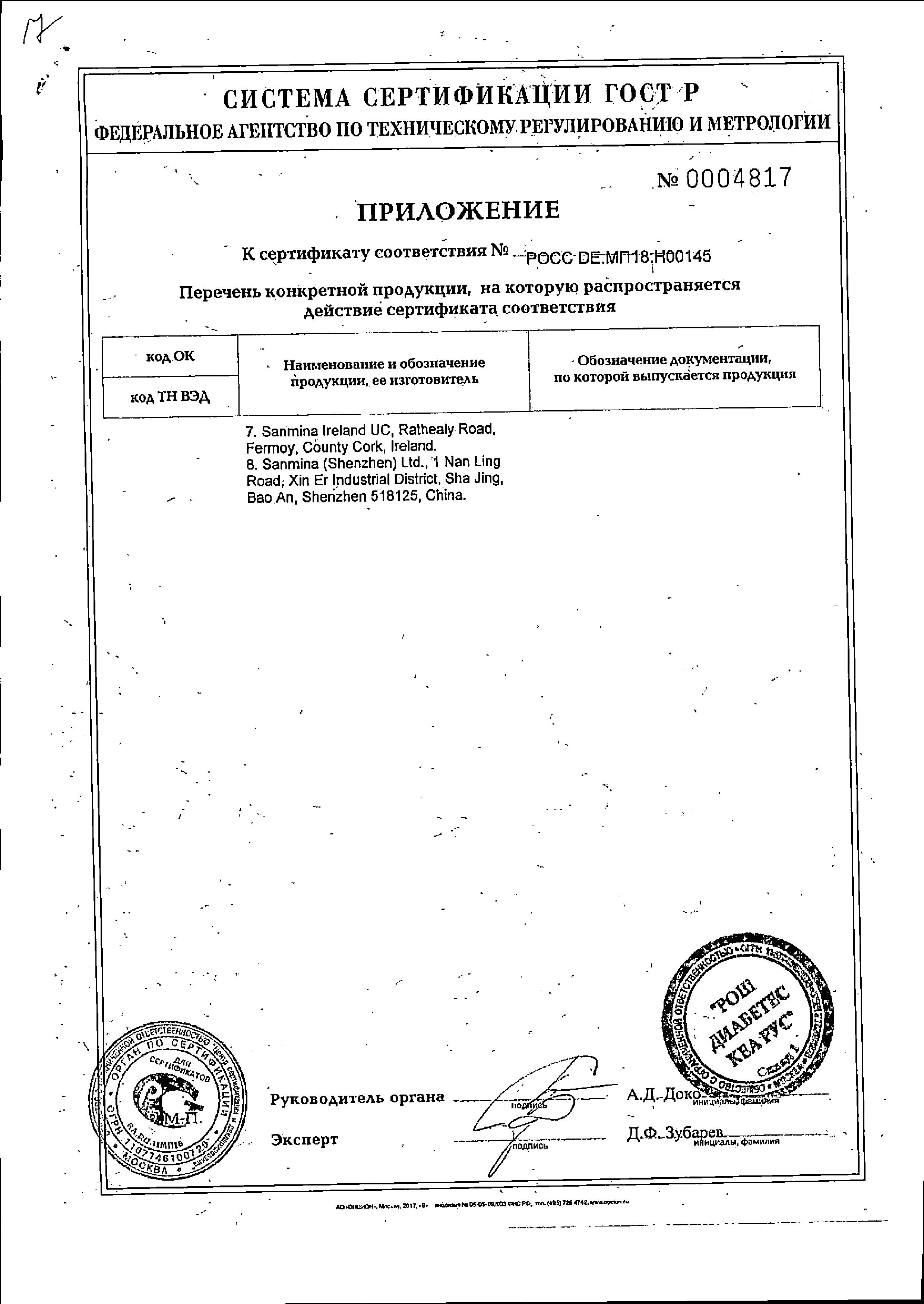 Глюкометр Accu-Chek Active сертификат