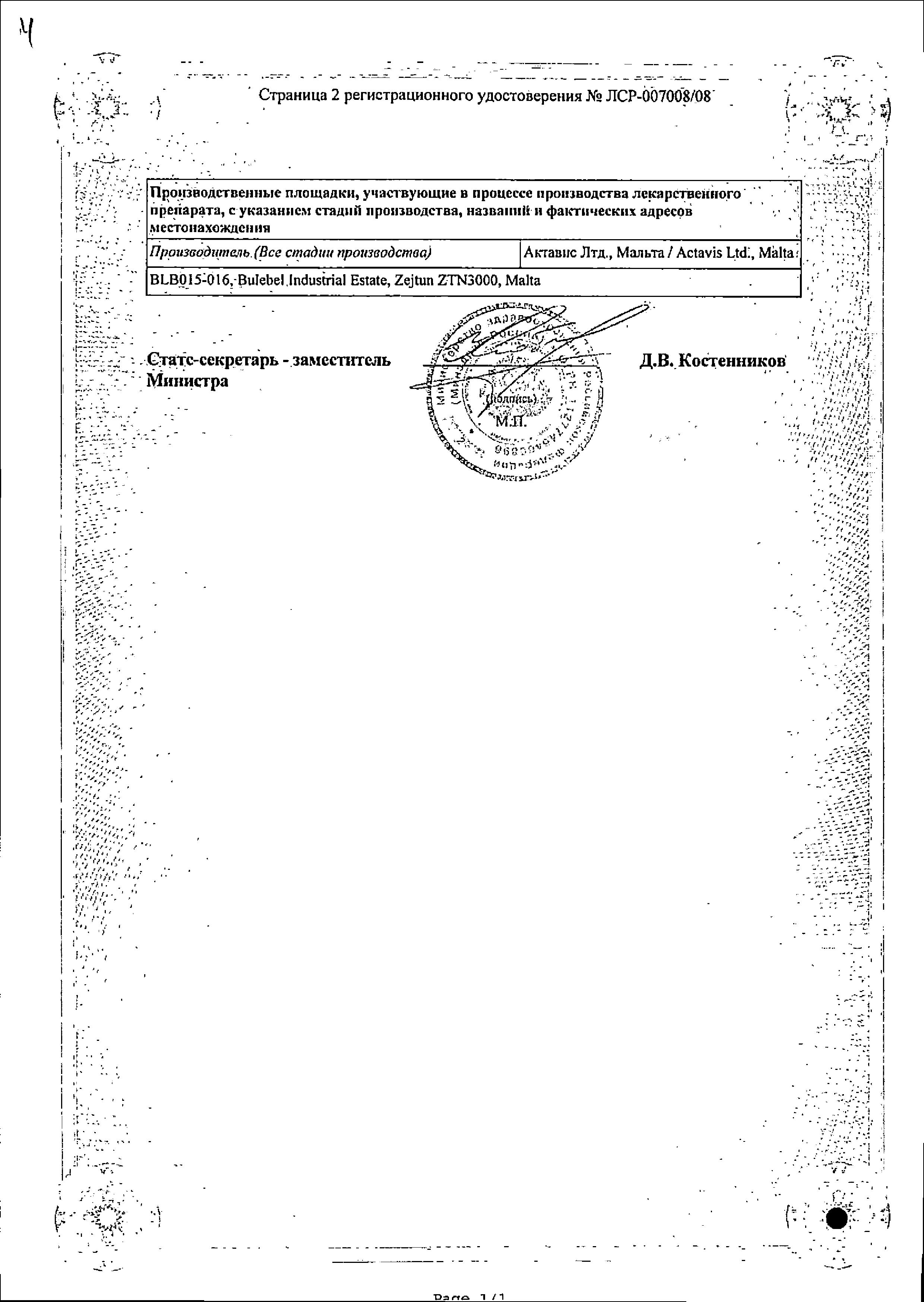 Лопирел сертификат