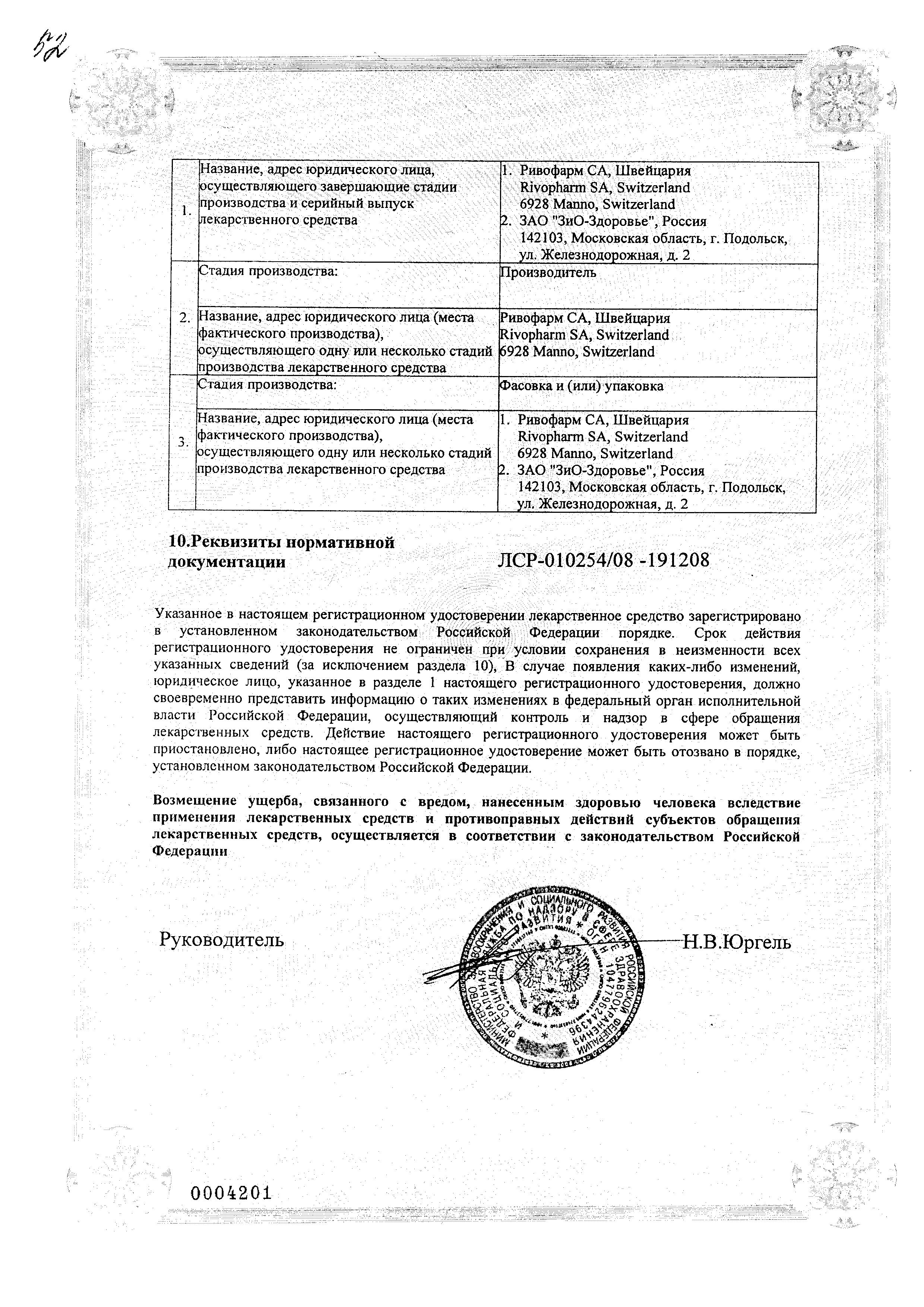 Лимипранил сертификат