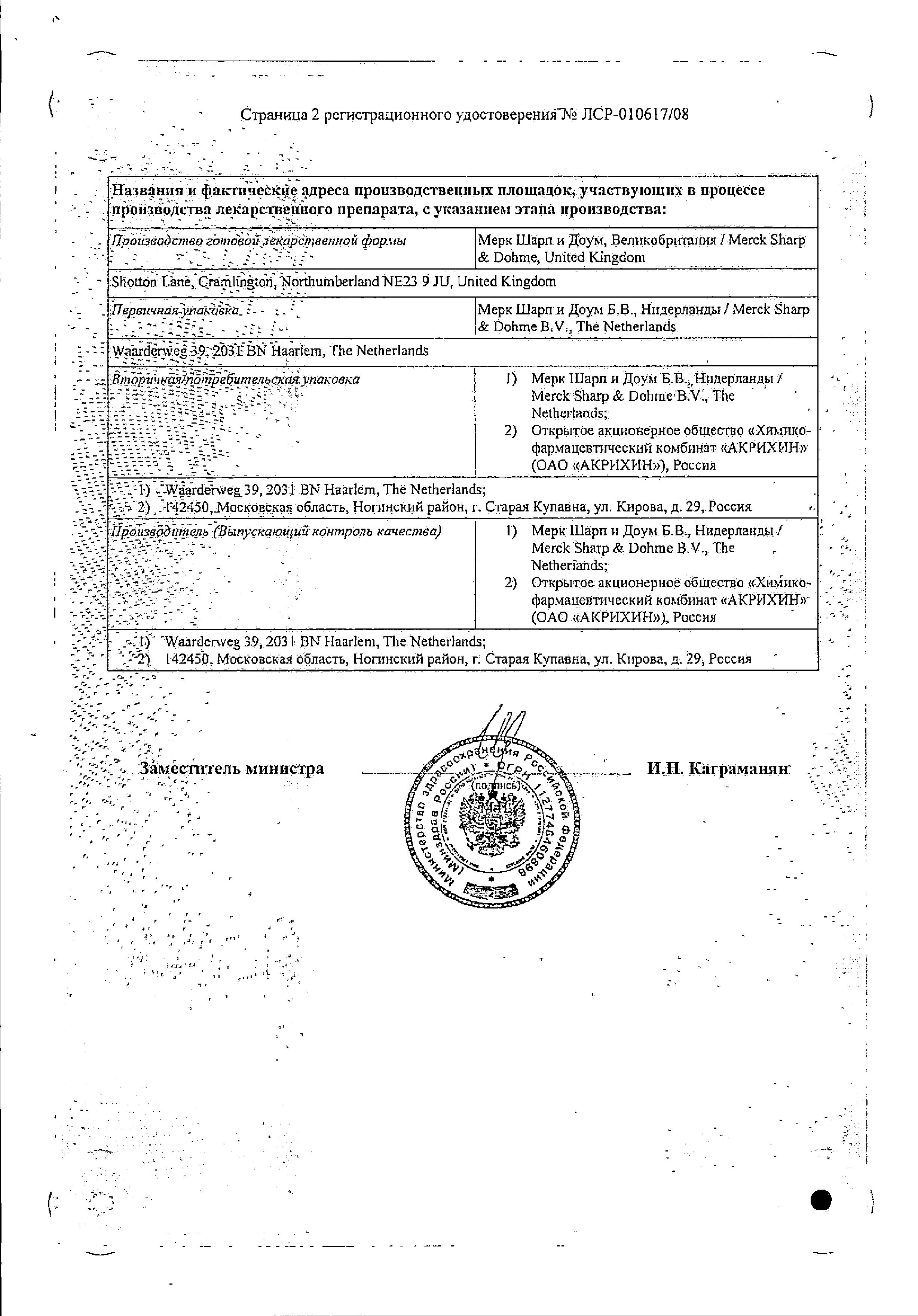 Козаар сертификат