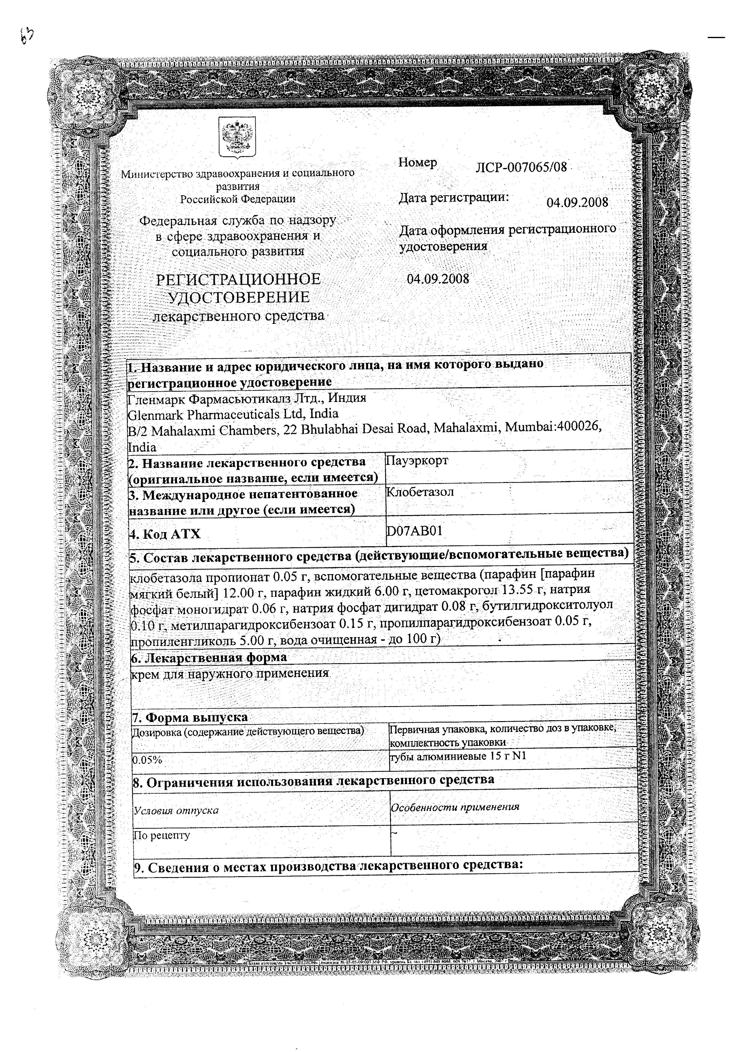 Пауэркорт сертификат