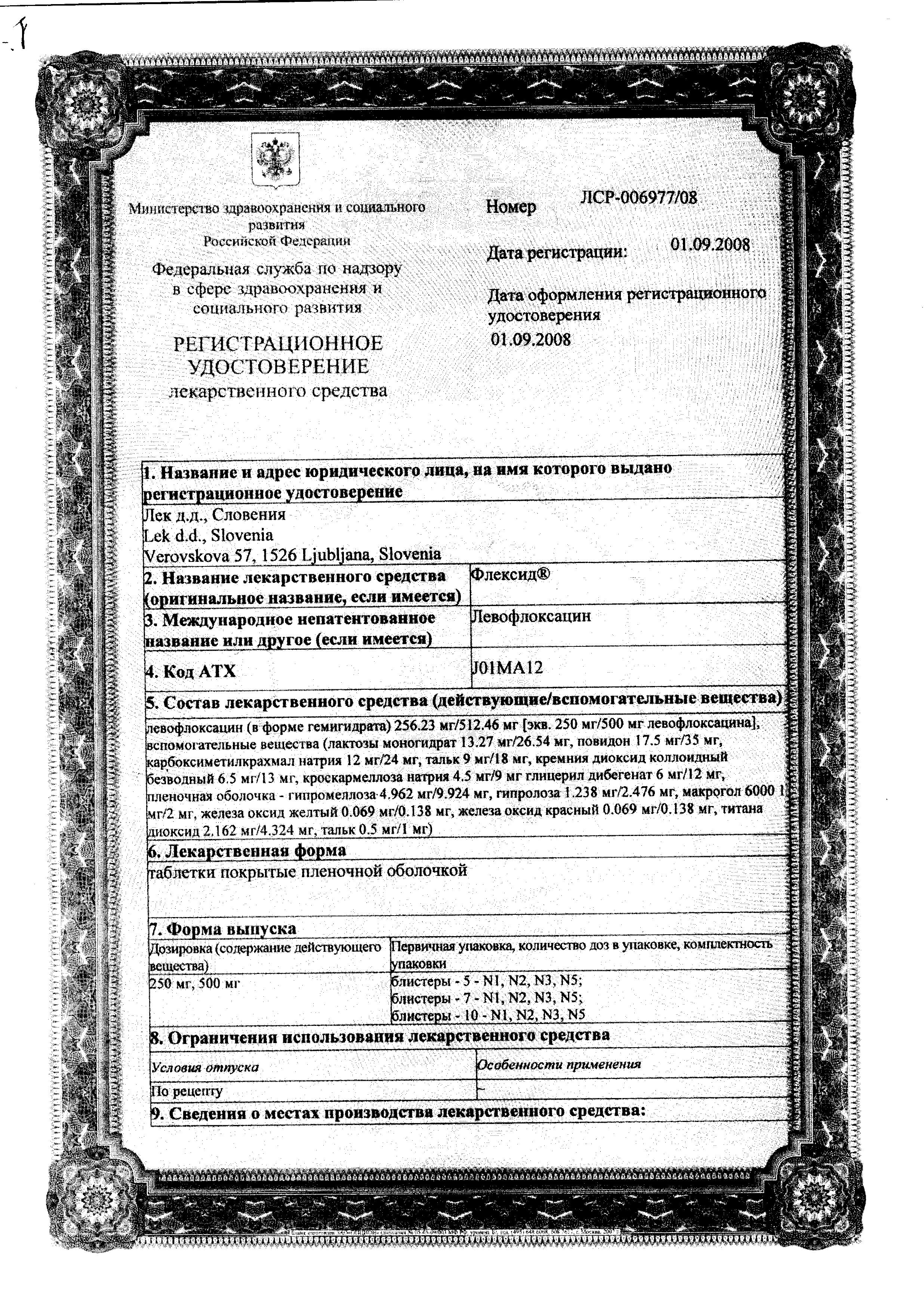 Флексид сертификат
