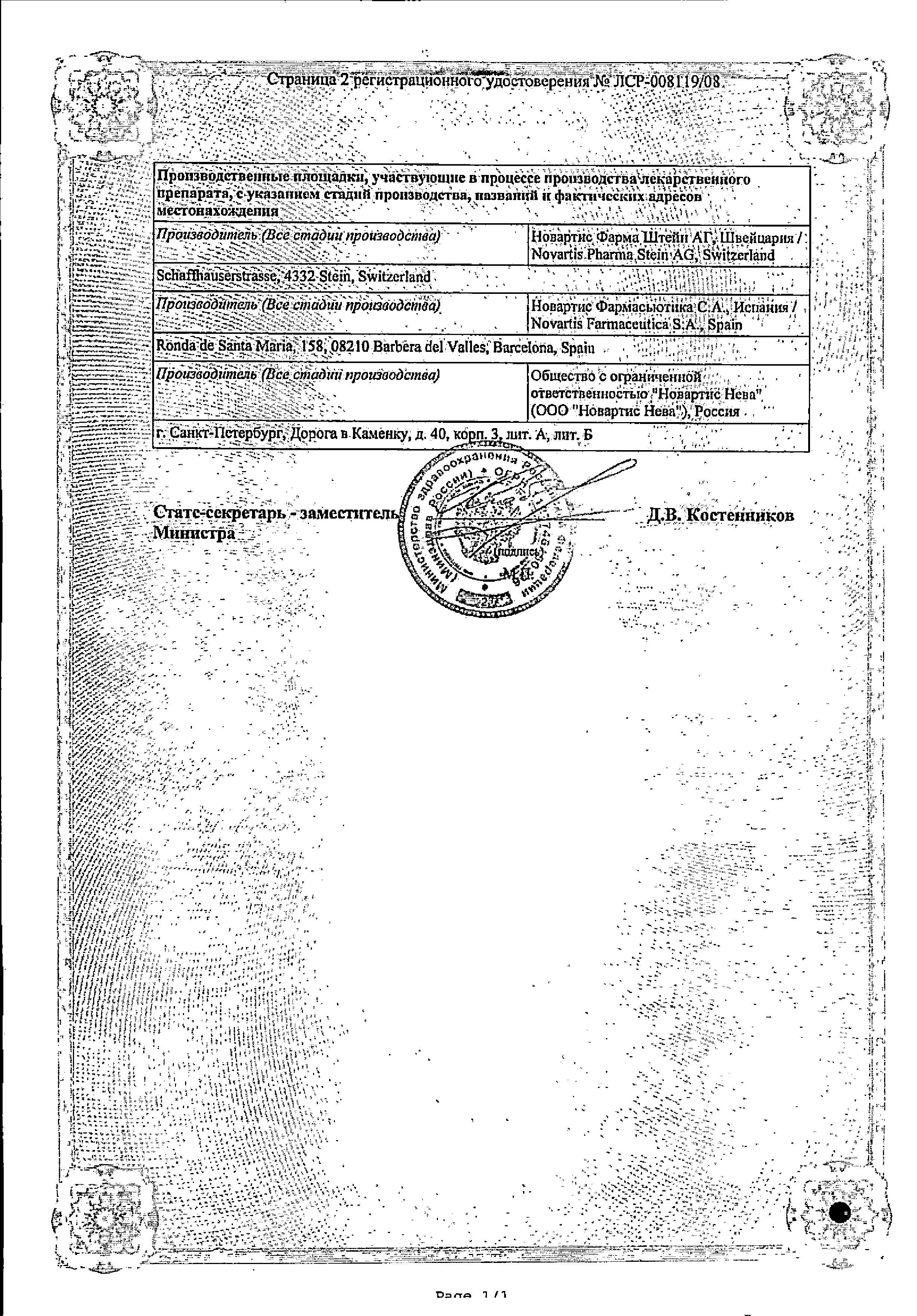 Галвус сертификат