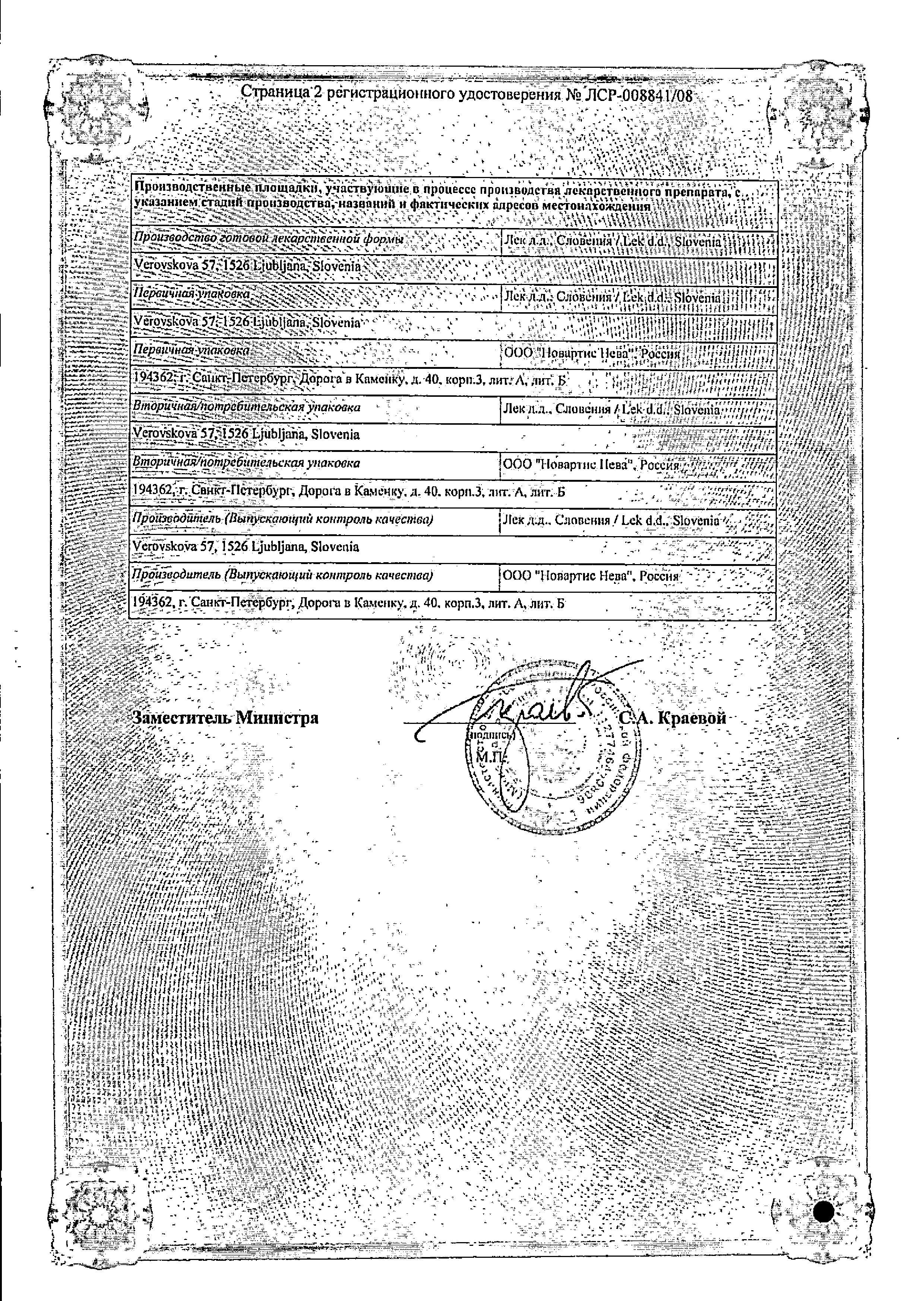 Кетонал ДУО сертификат