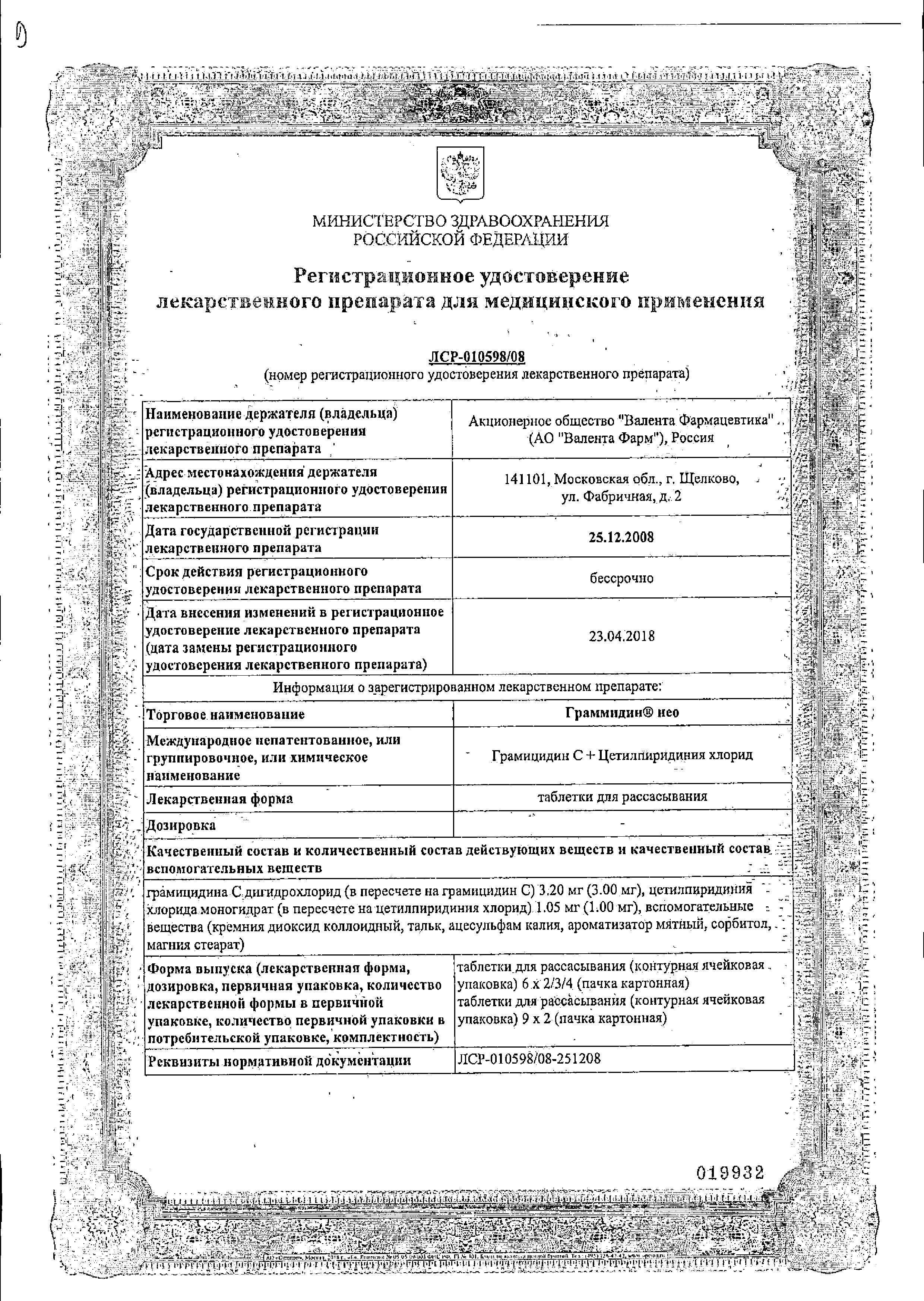 Граммидин нео сертификат