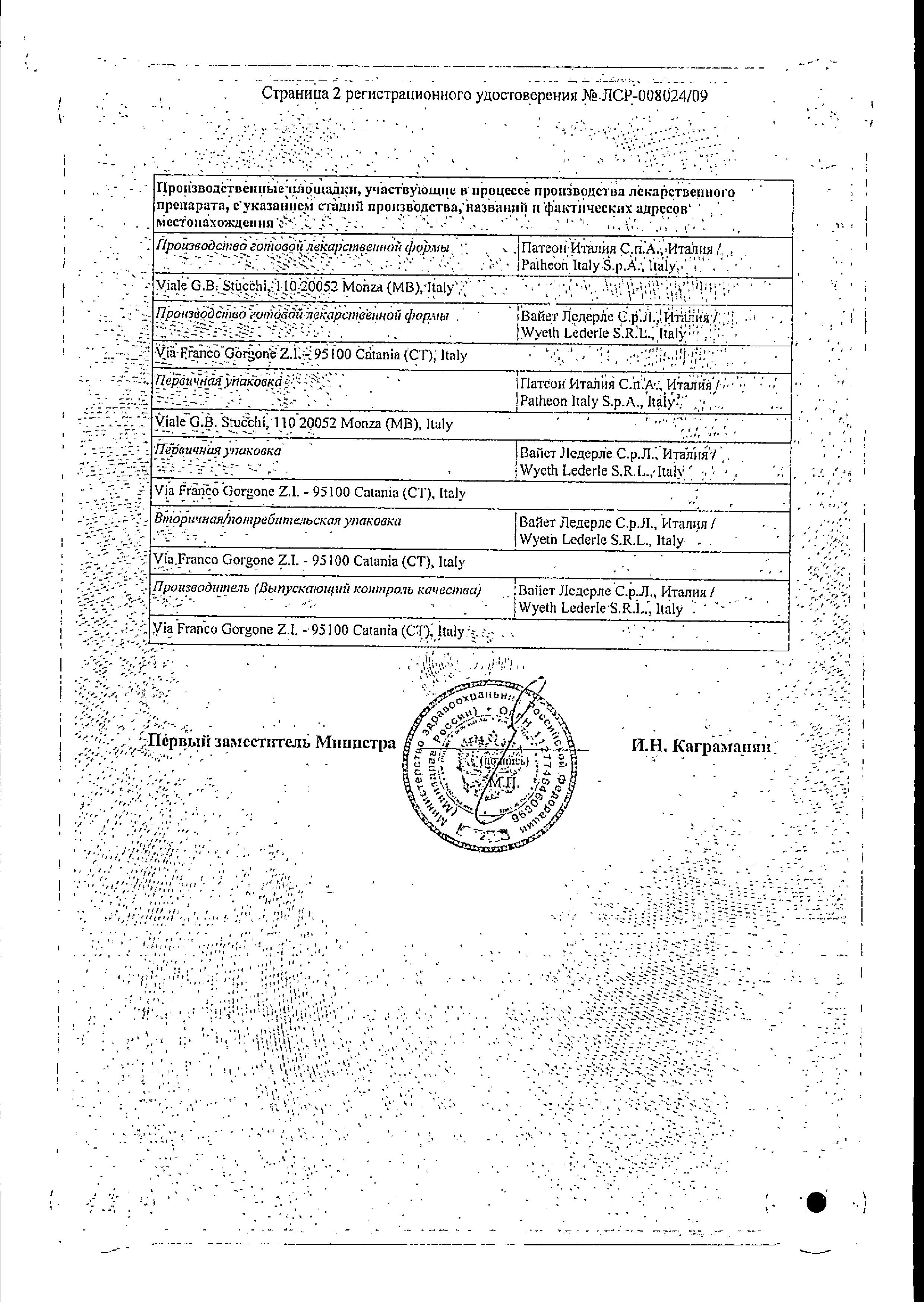 Тигацил сертификат