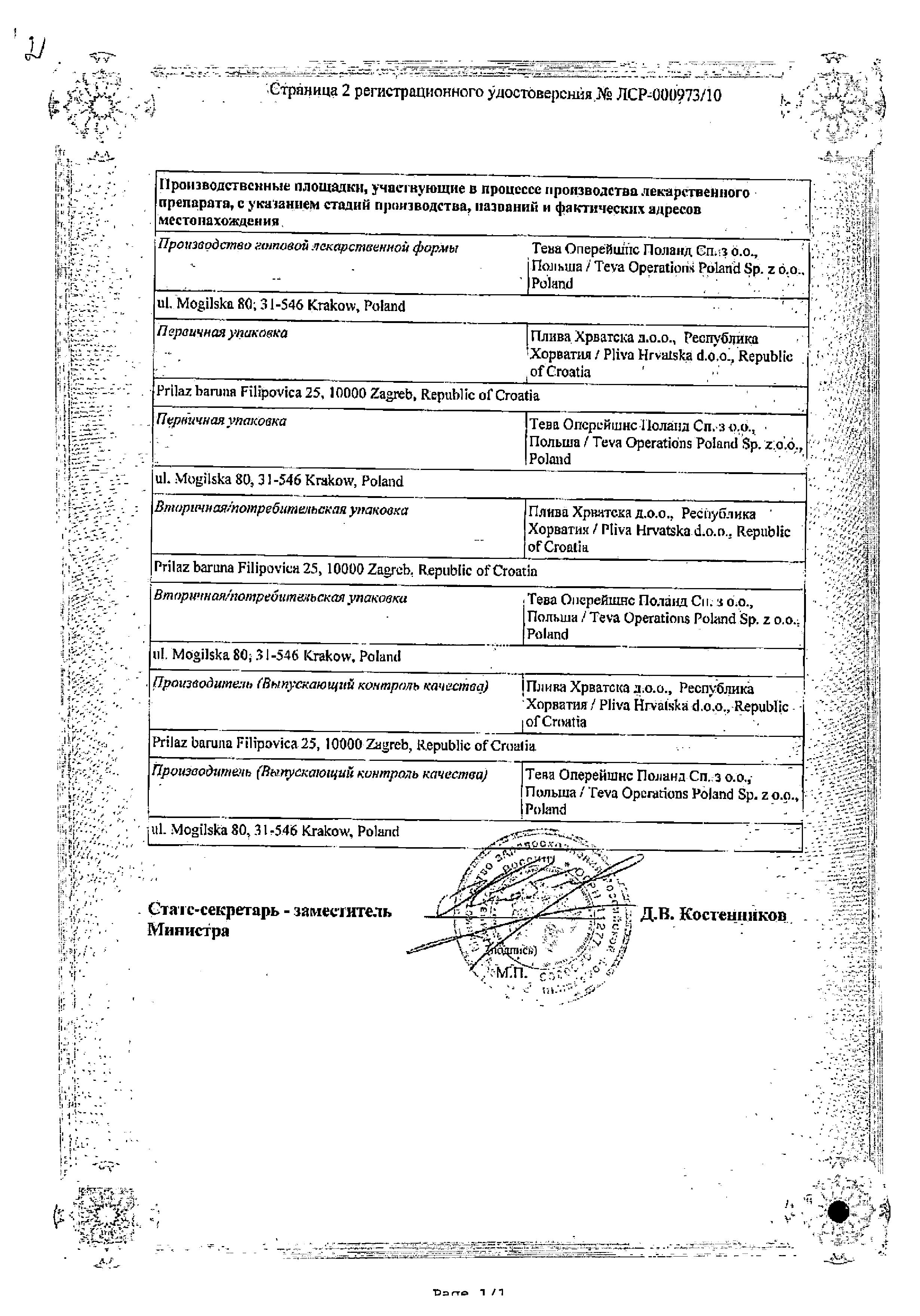 Нооджерон сертификат