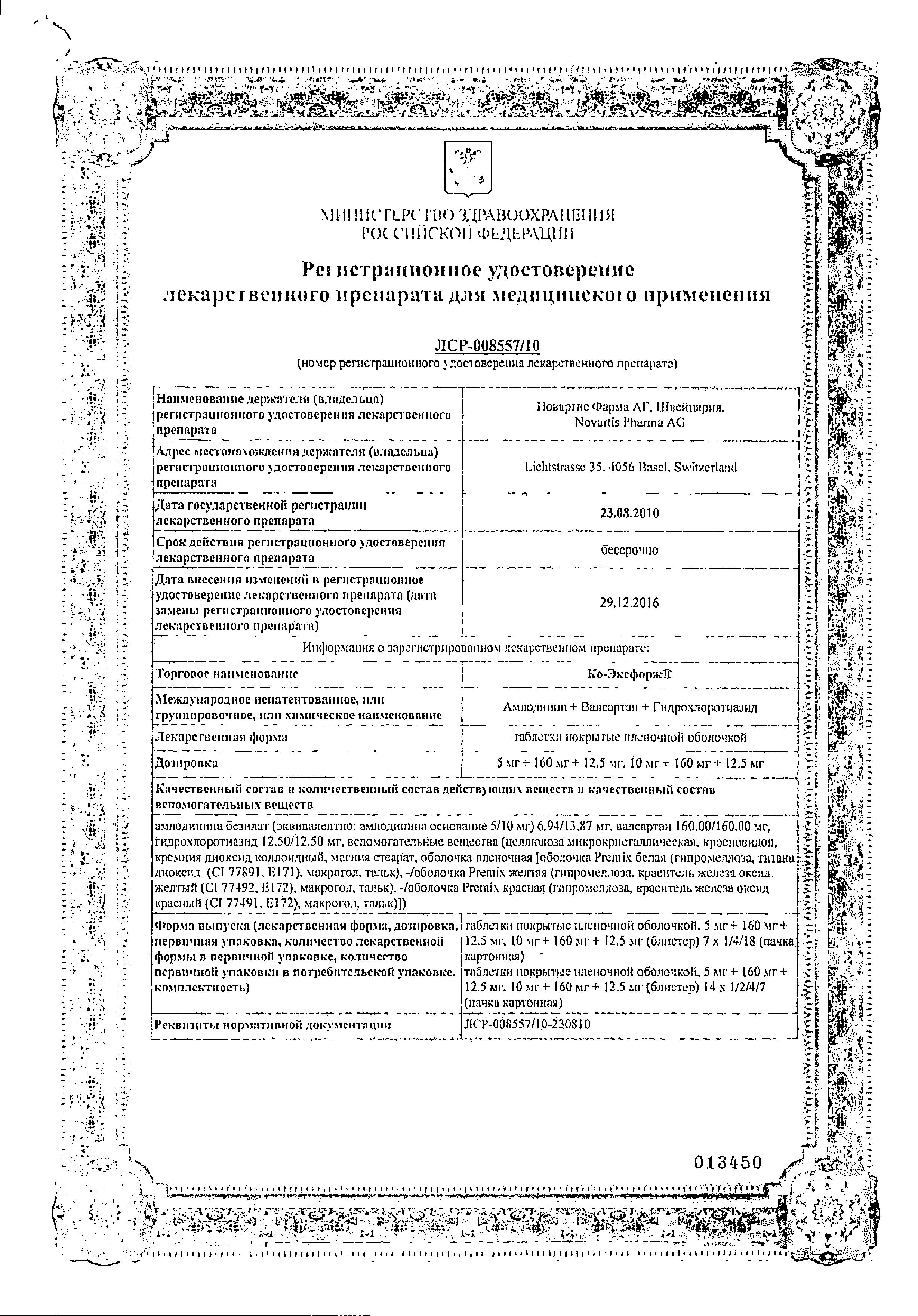 Ко-Эксфорж сертификат