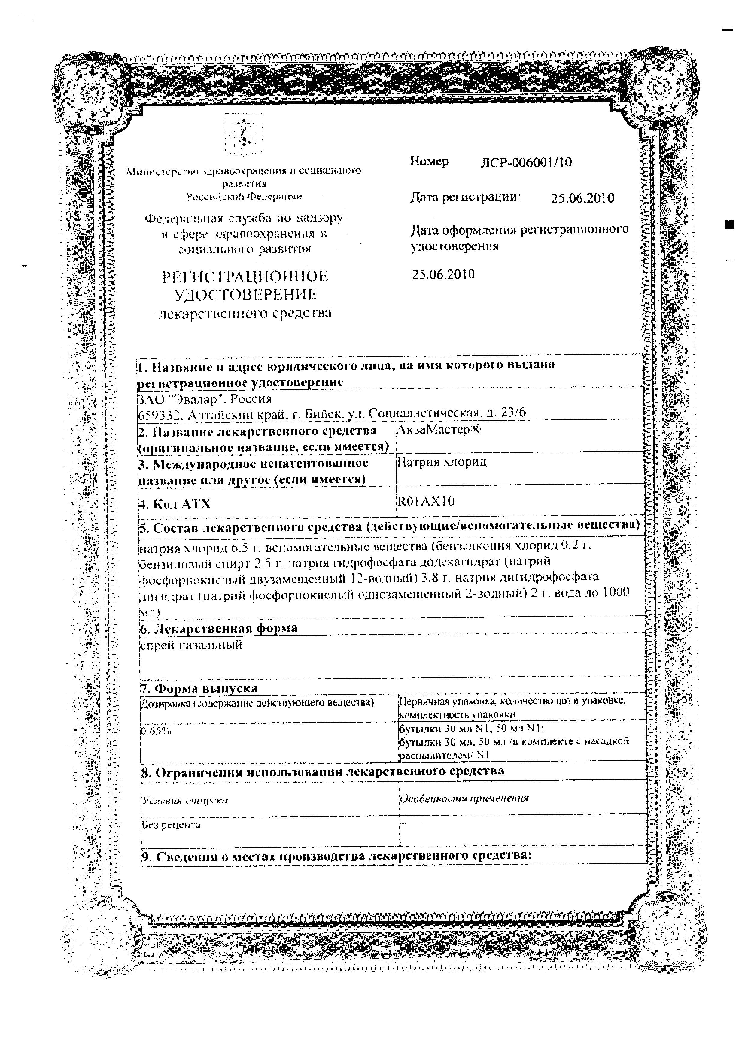 АкваМастер сертификат