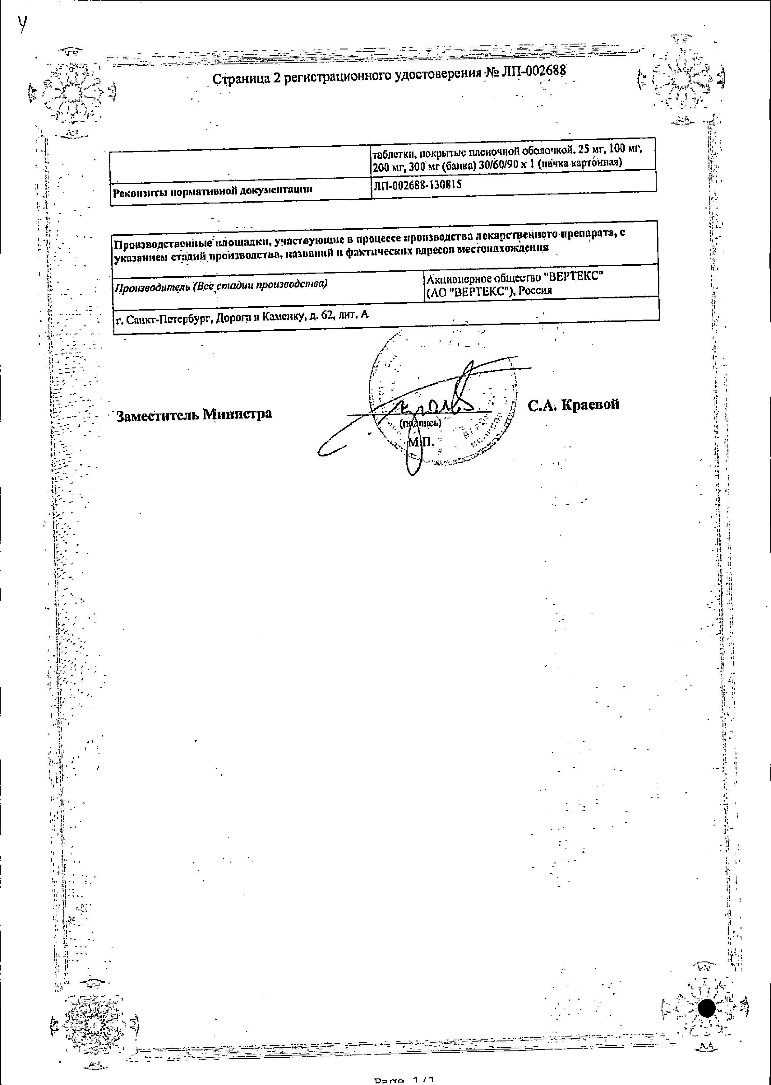 Кветиапин сертификат
