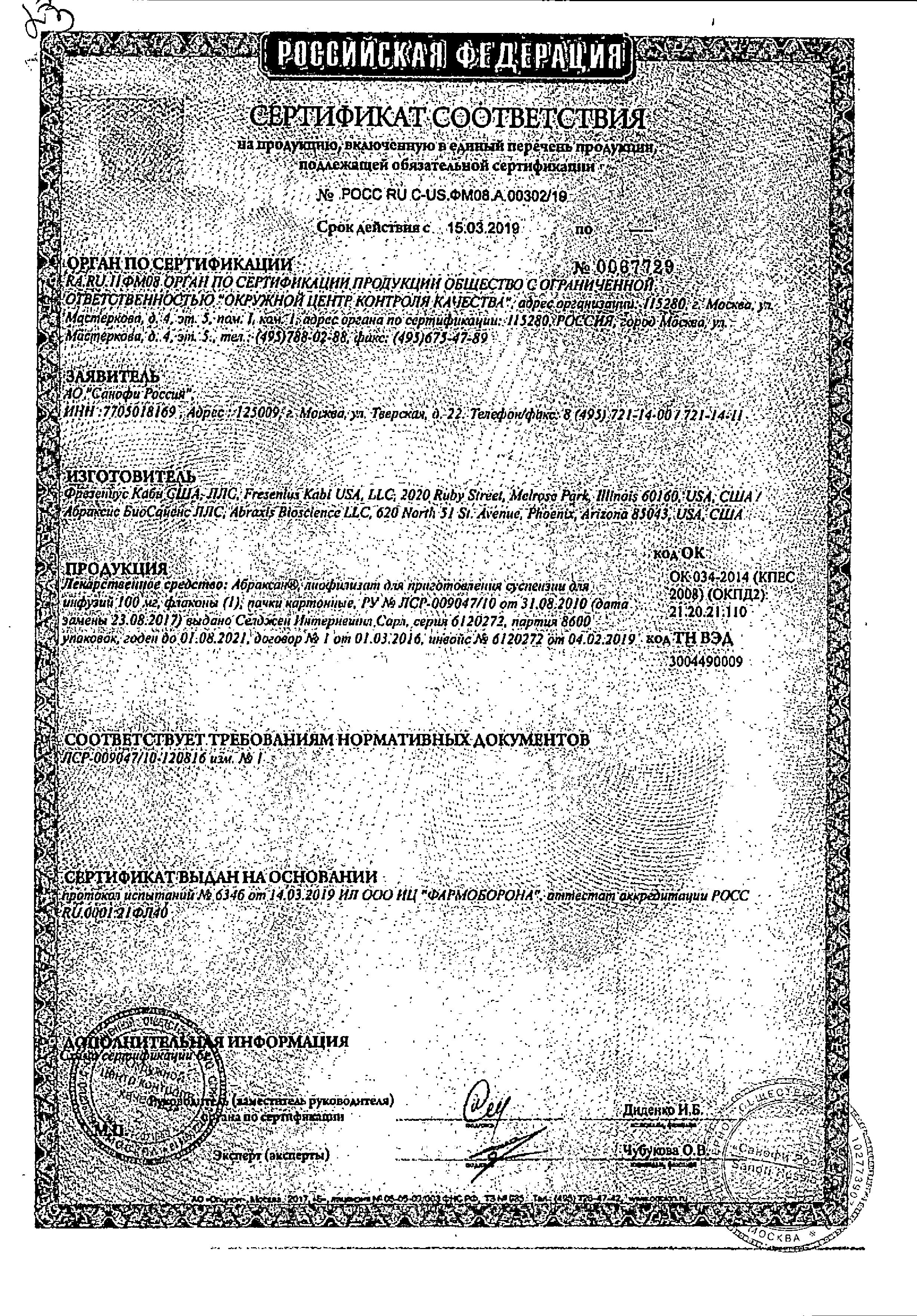 Абраксан сертификат