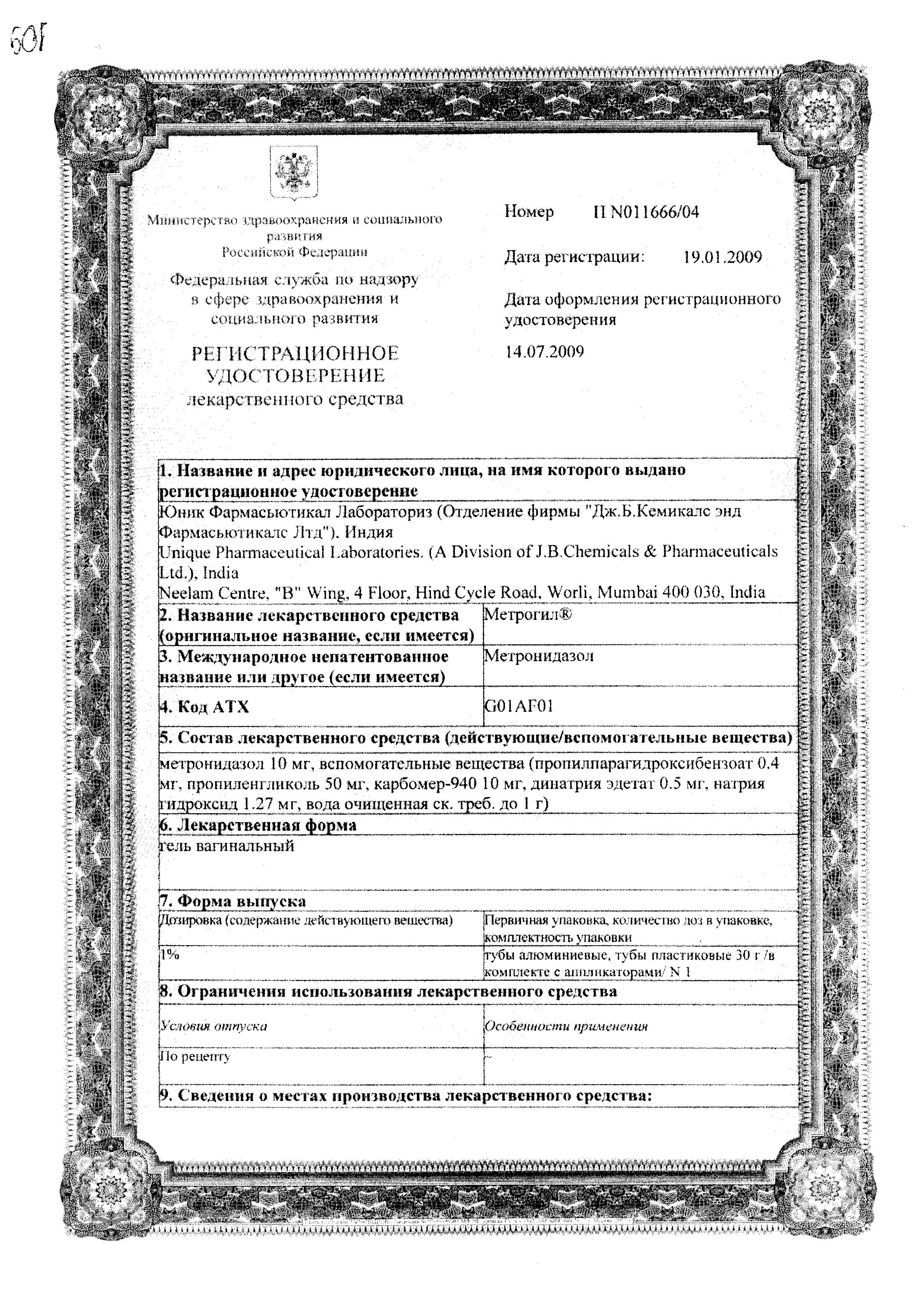 Метрогил (гель вагинальный) сертификат