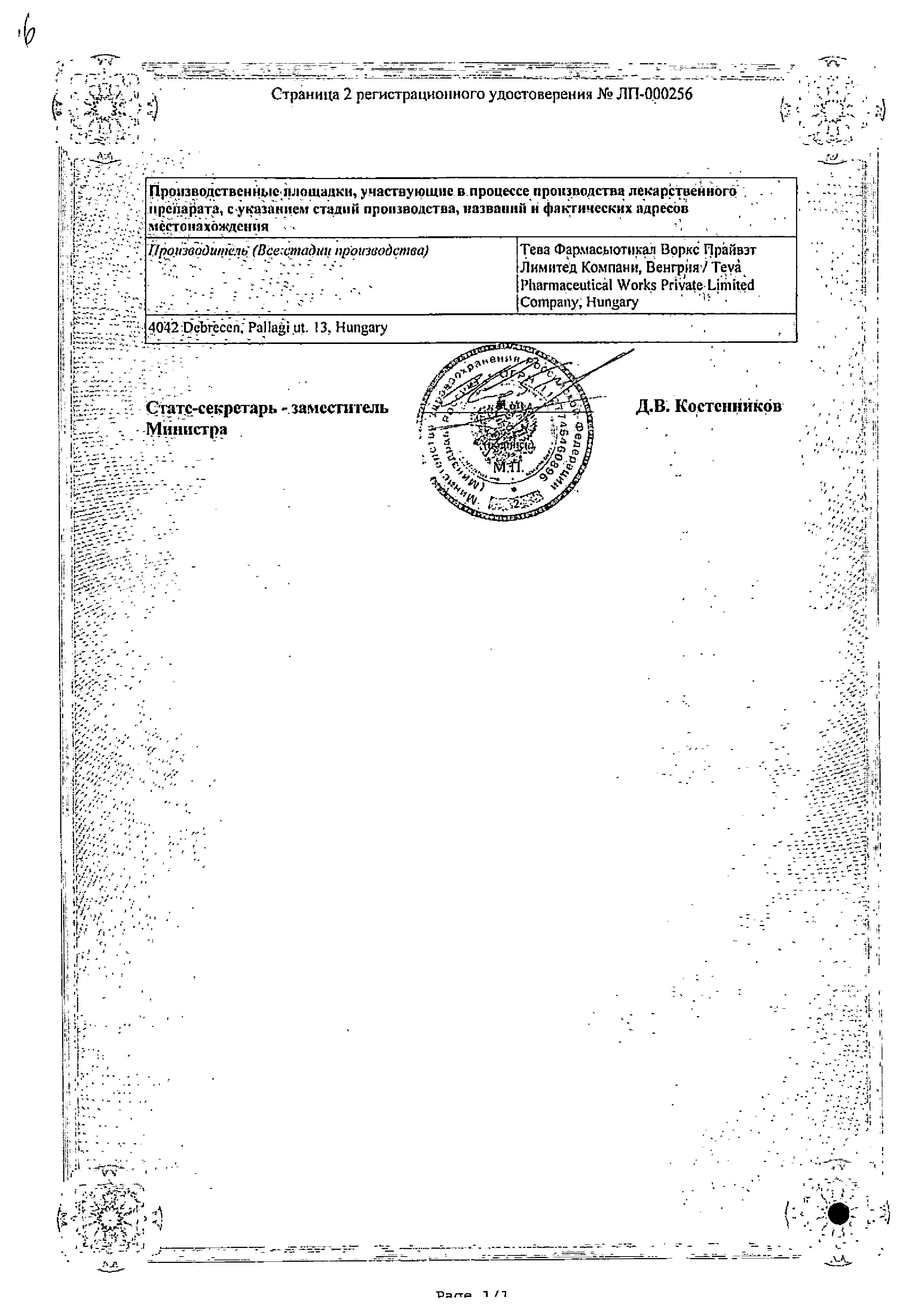 Мелоксикам-Тева сертификат