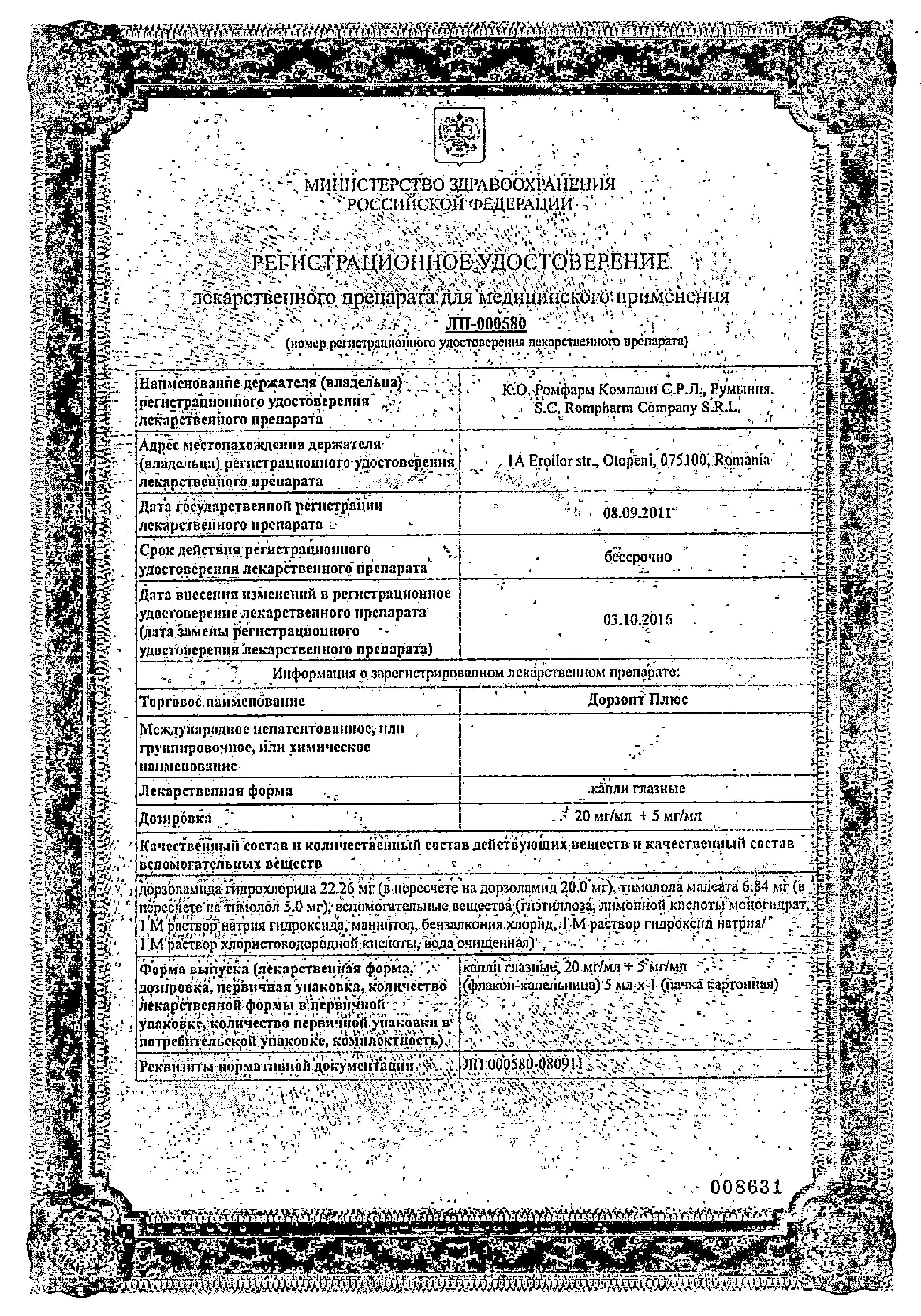 Дорзопт Плюс сертификат