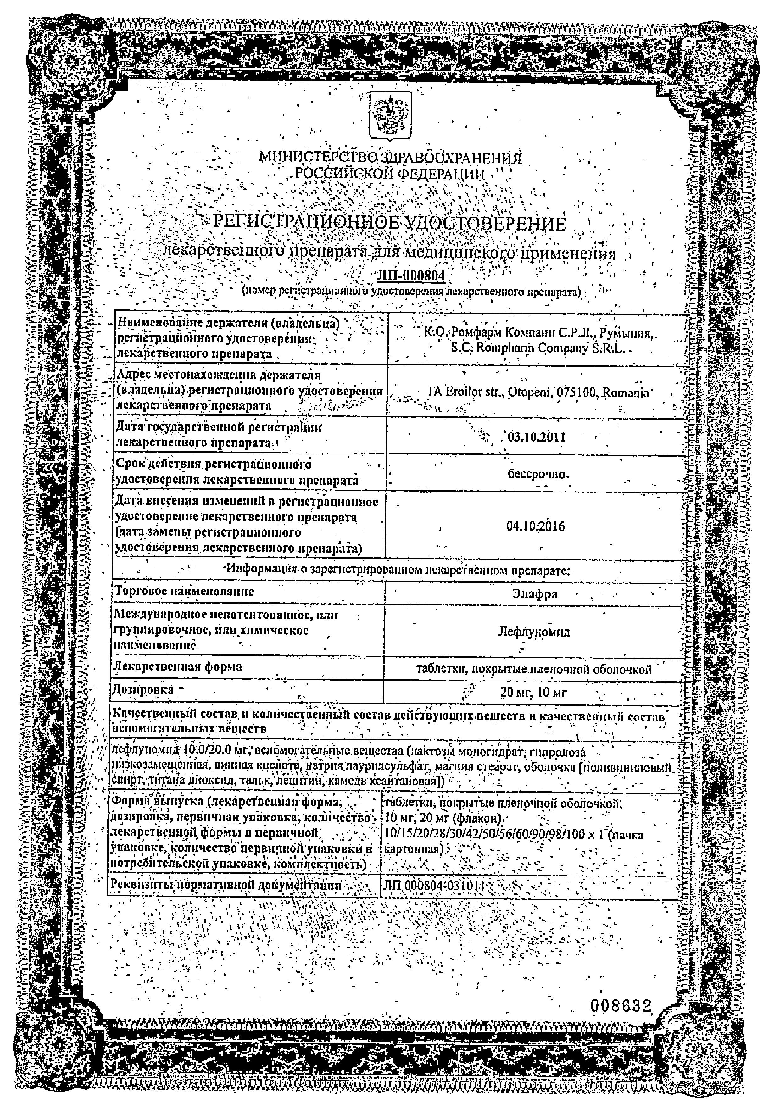 Элафра сертификат
