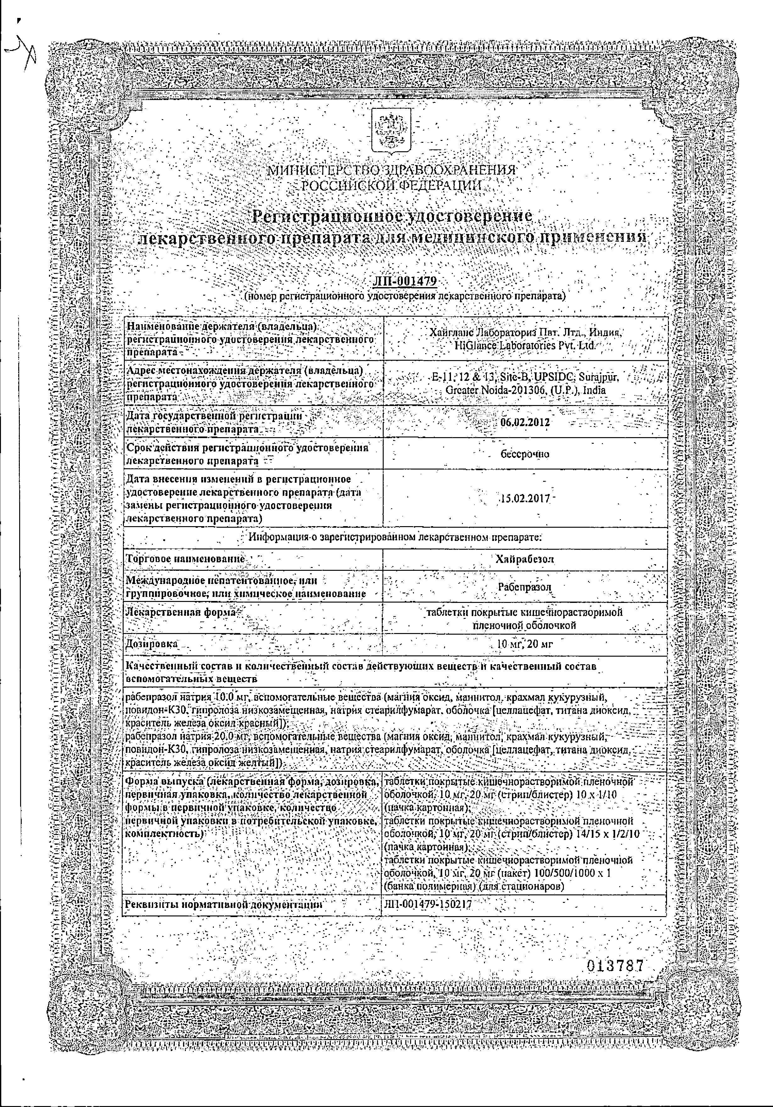 Хайрабезол сертификат