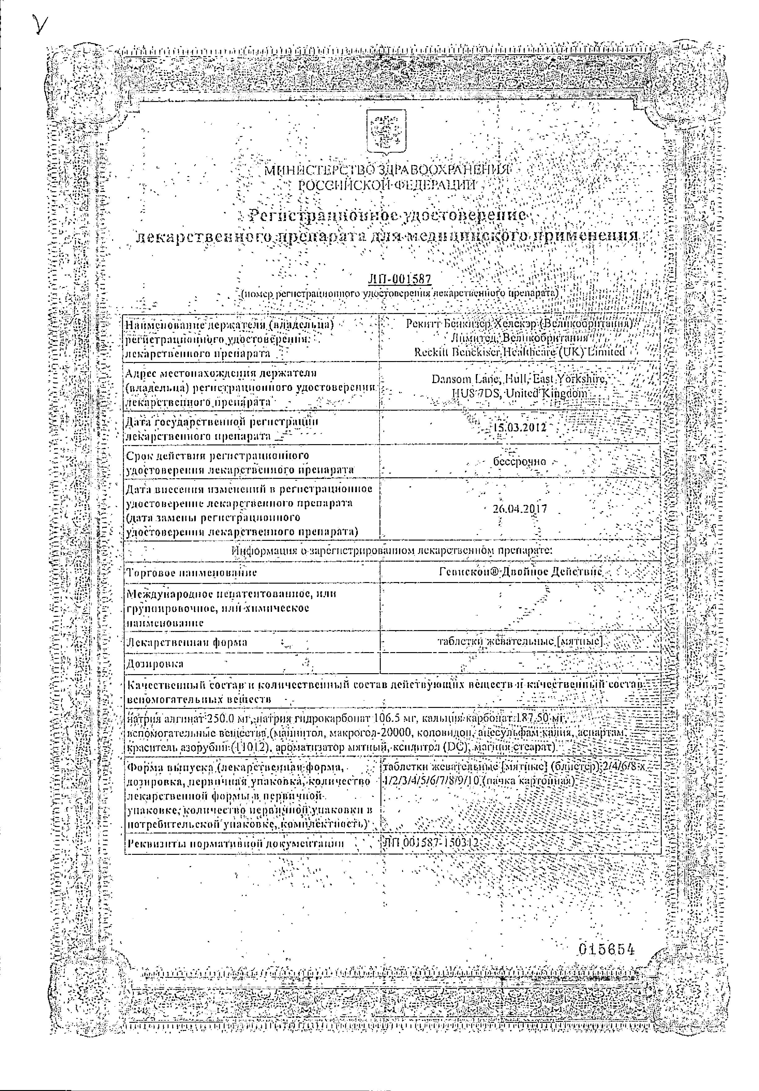 Гевискон Двойное Действие сертификат