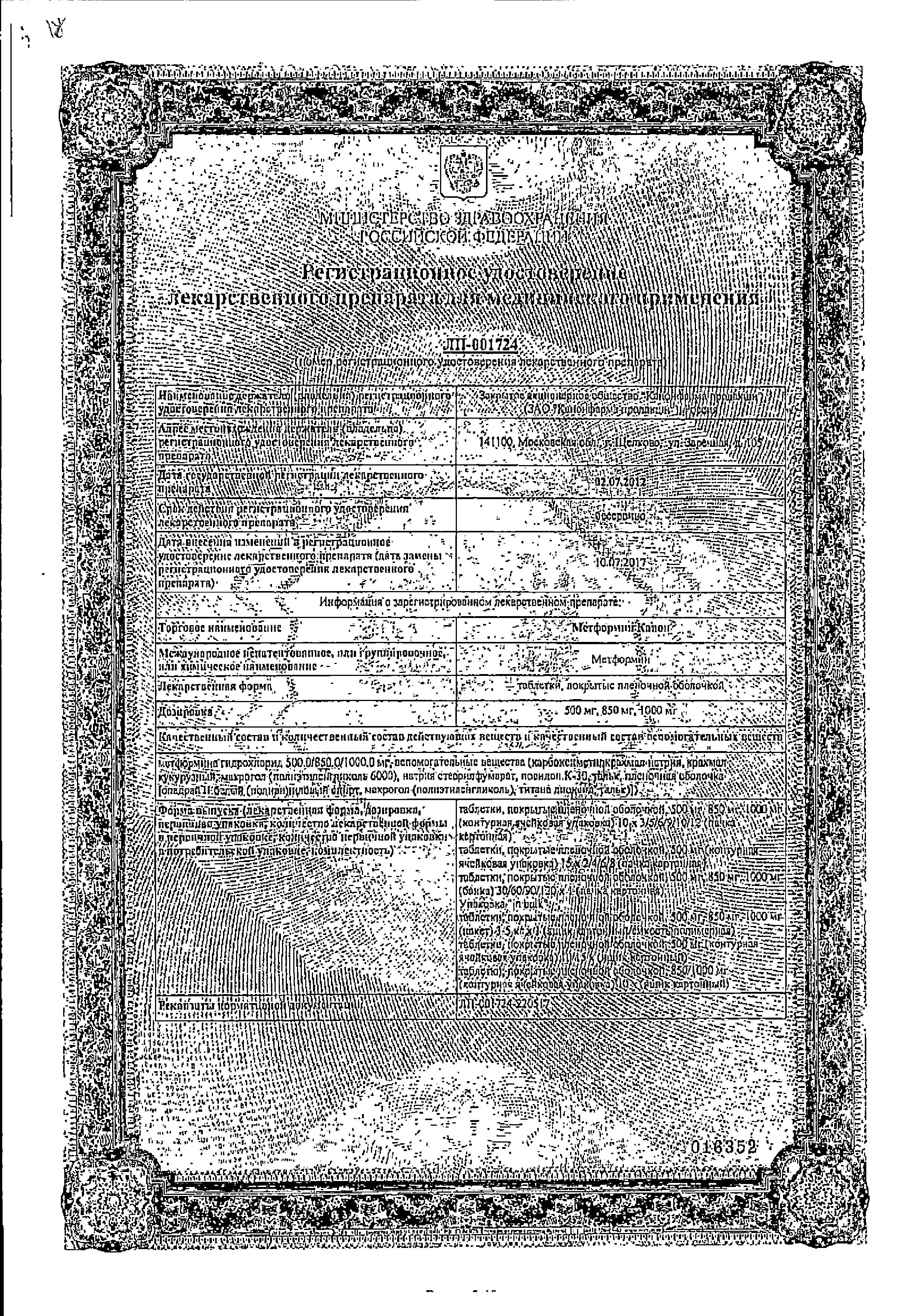 Метформин-Канон сертификат