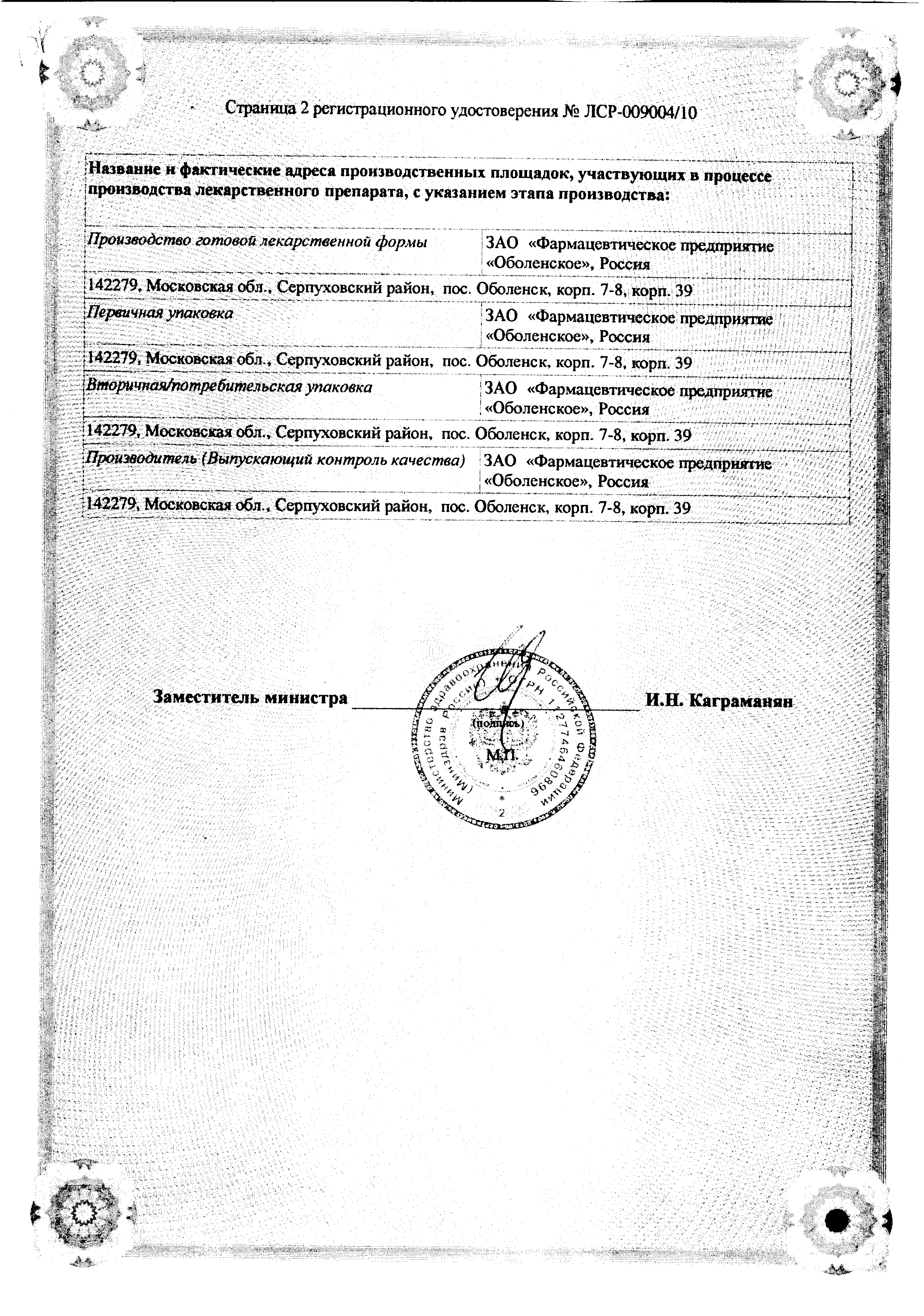 Азитромицин Форте-OBL сертификат