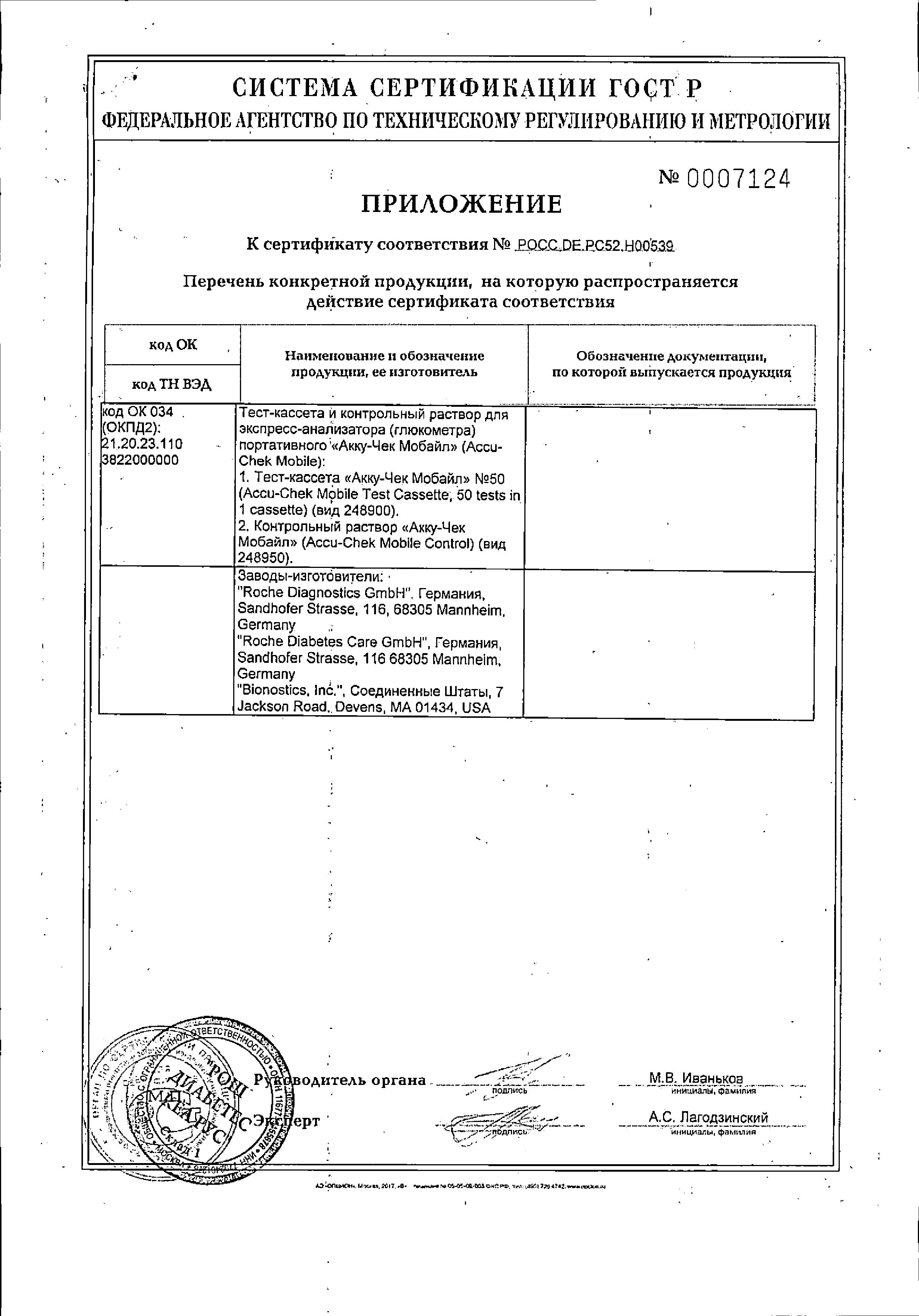 Тест-полоски Accu-chek Mobile сертификат