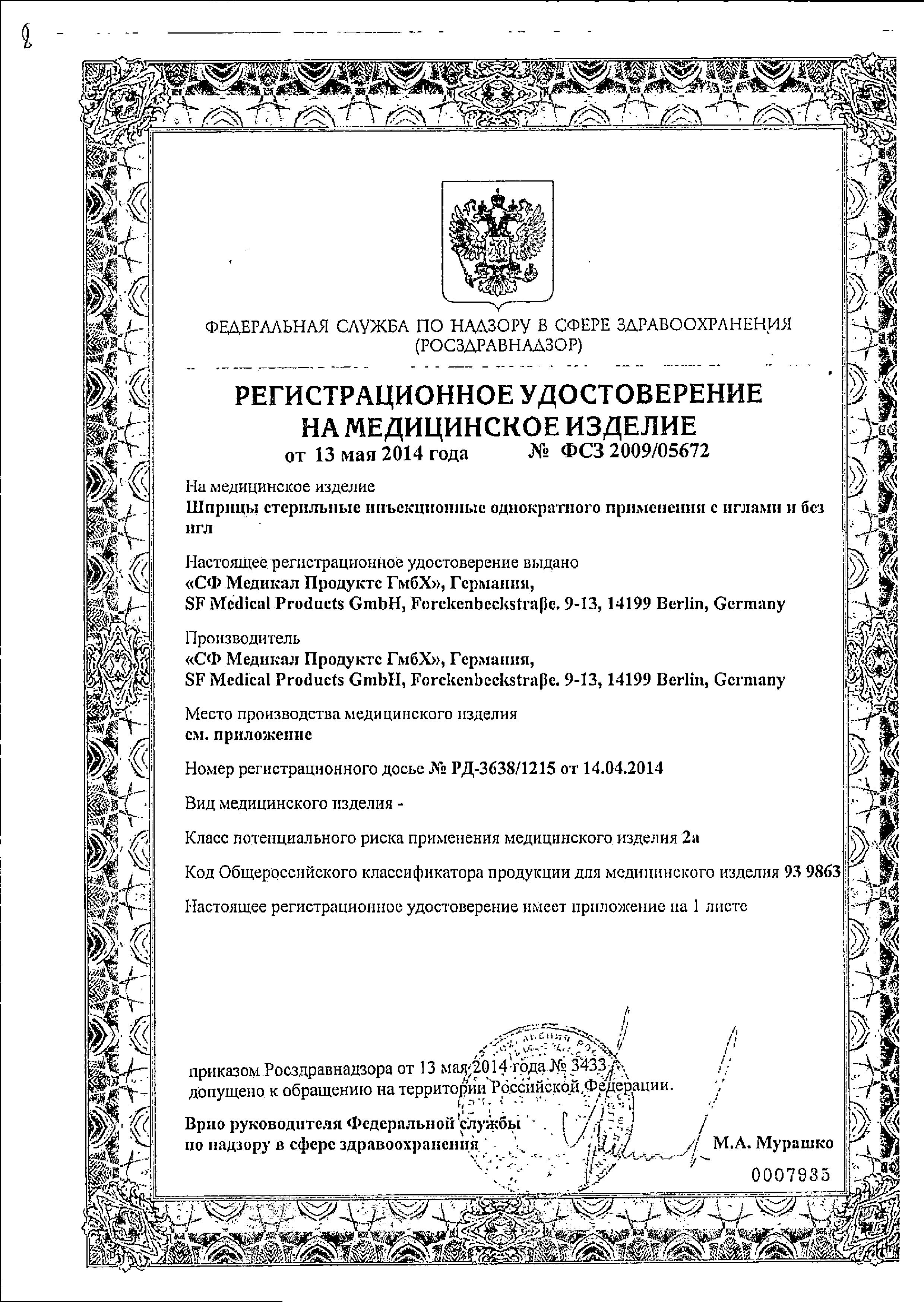 Шприцы стерильные инъекционные однократного применения сертификат