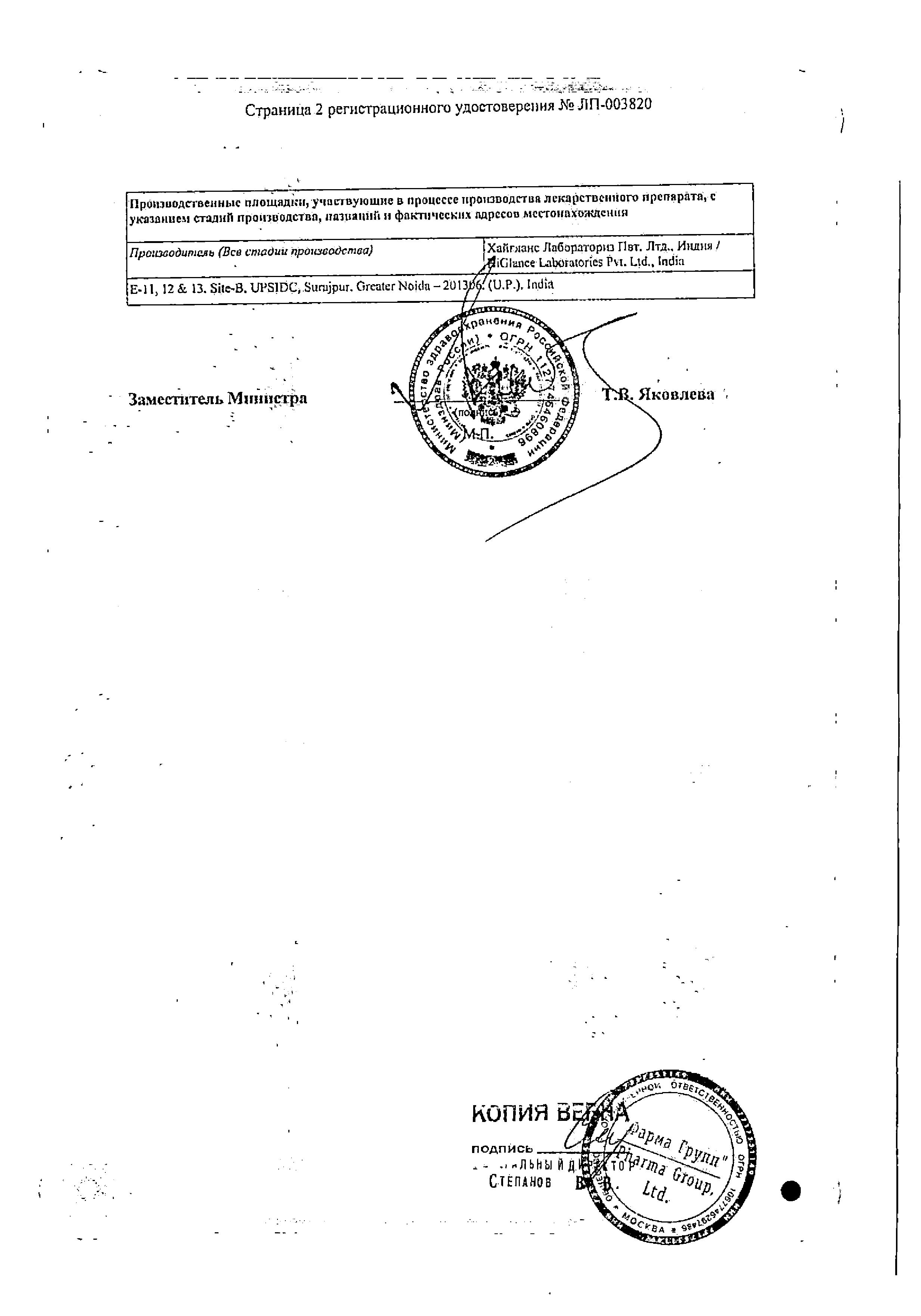 Глансин сертификат