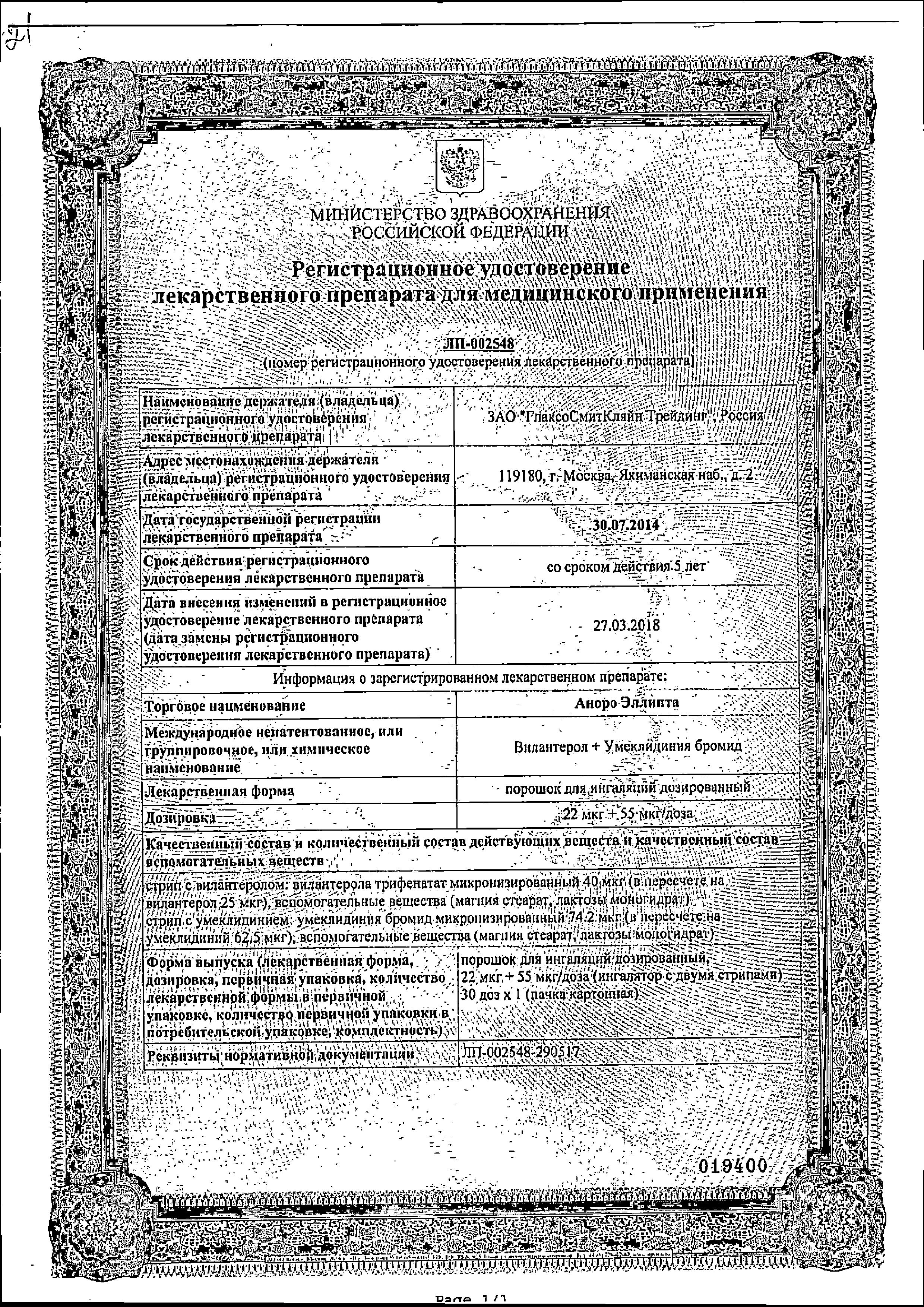 Аноро Эллипта сертификат