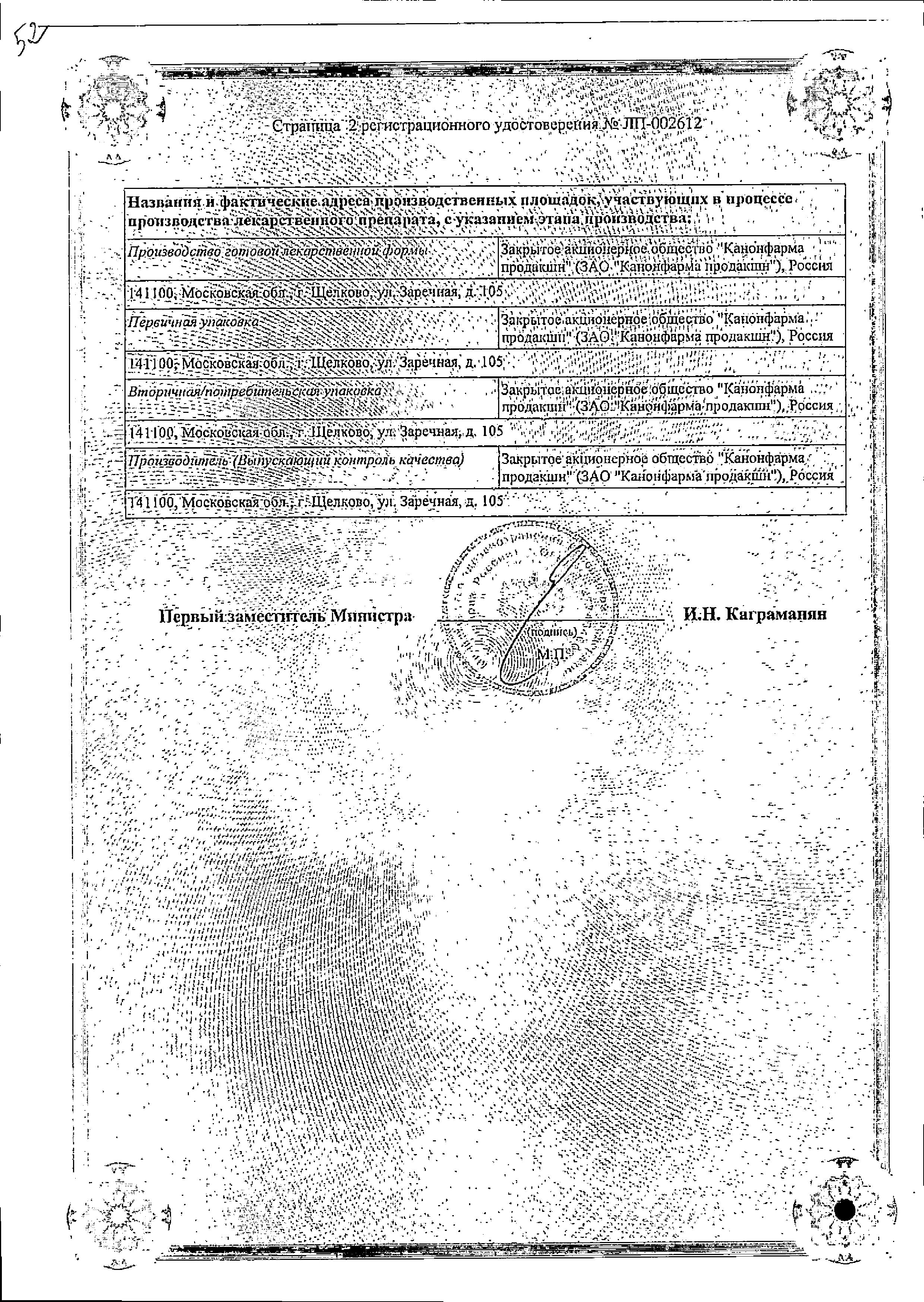 Оланзапин Канон сертификат
