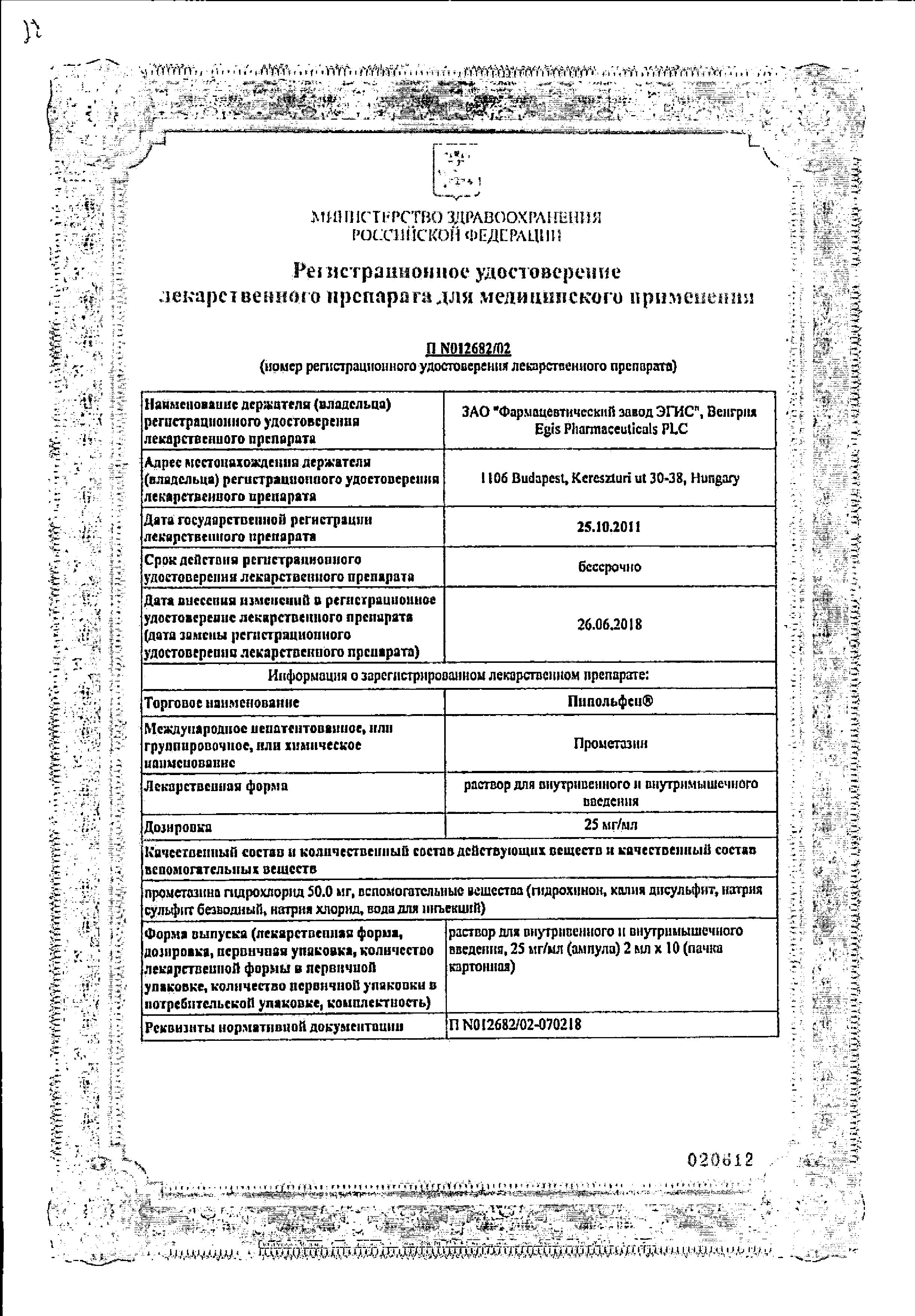 Пипольфен сертификат