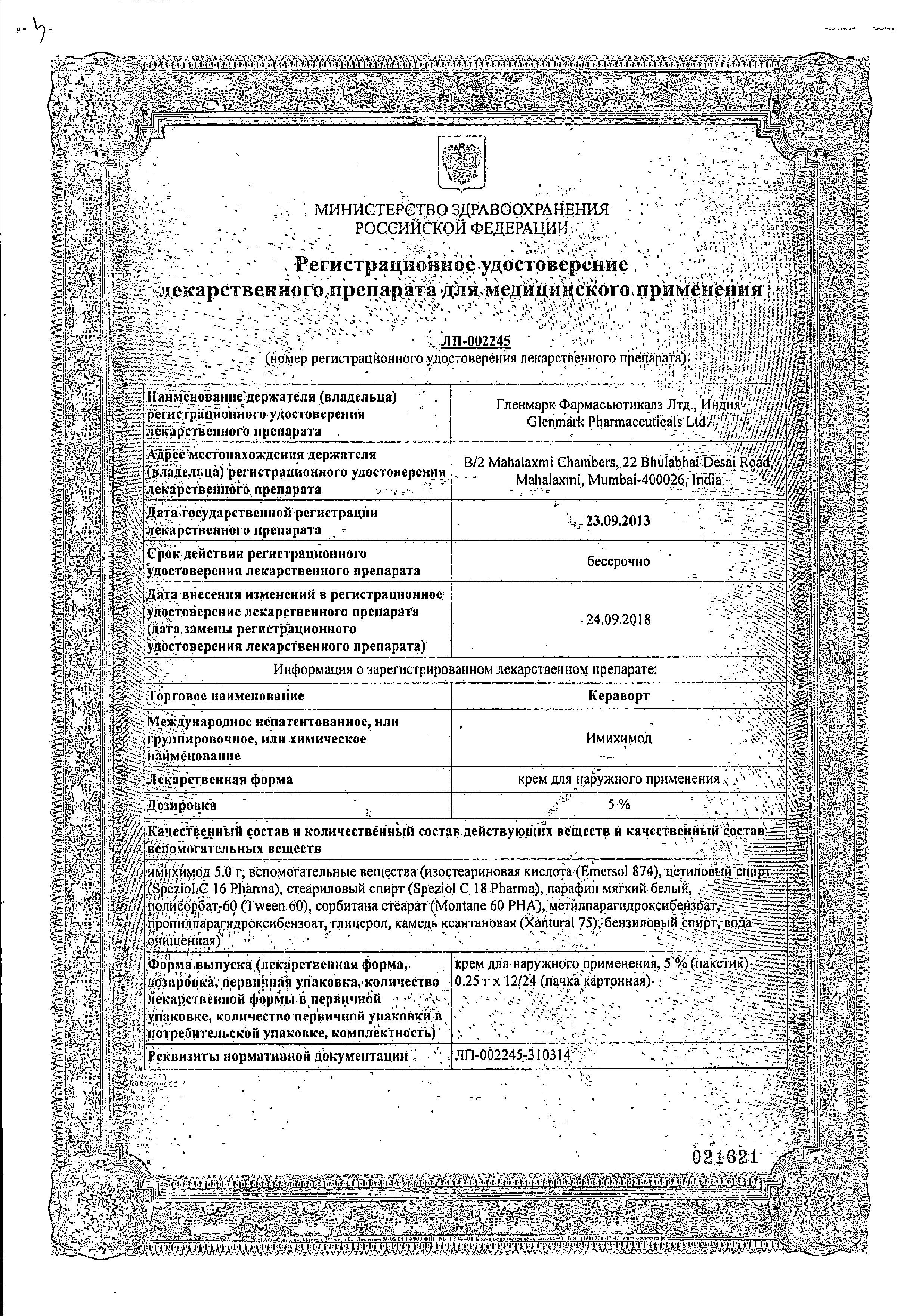 Кераворт сертификат