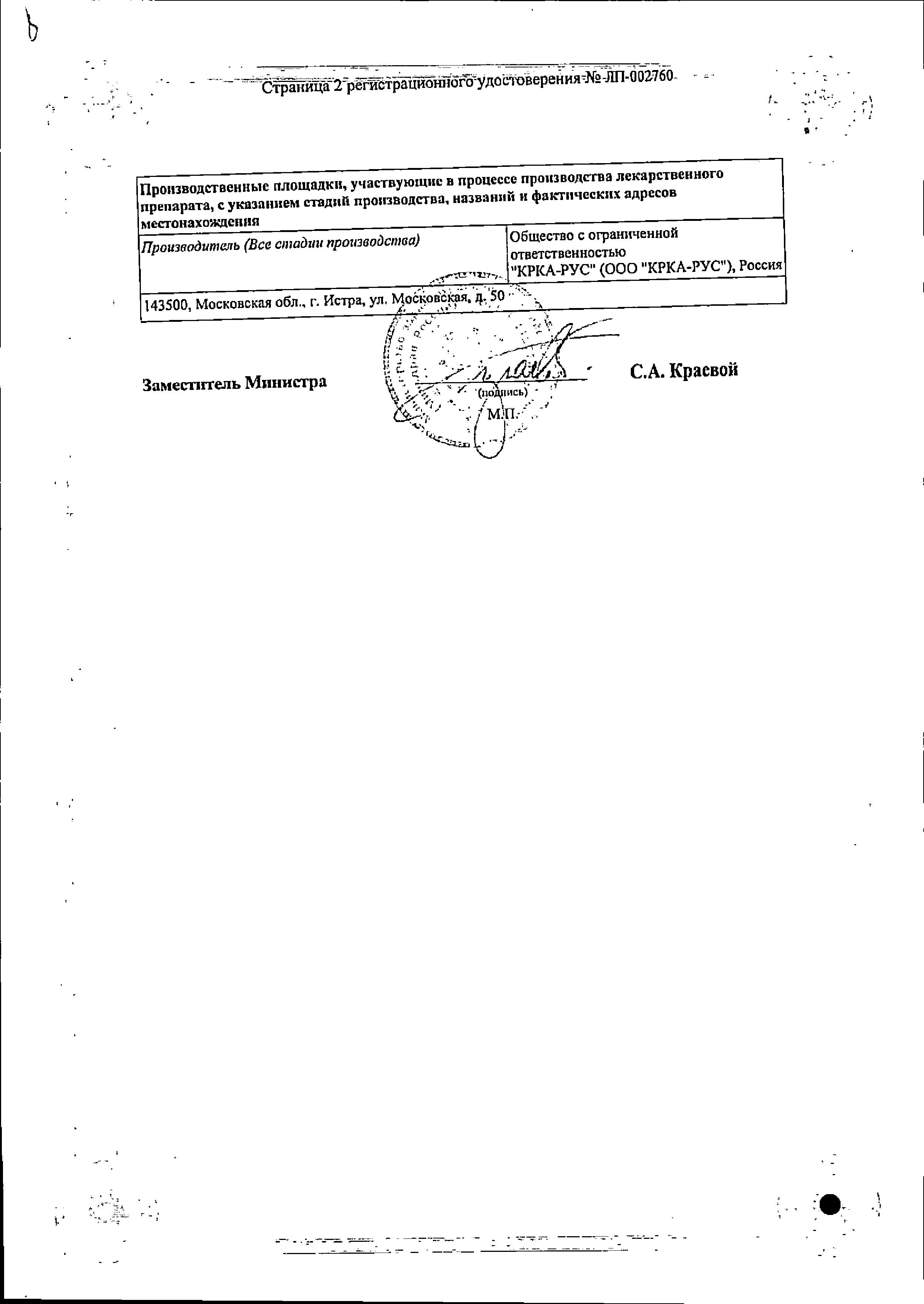 Лортенза сертификат