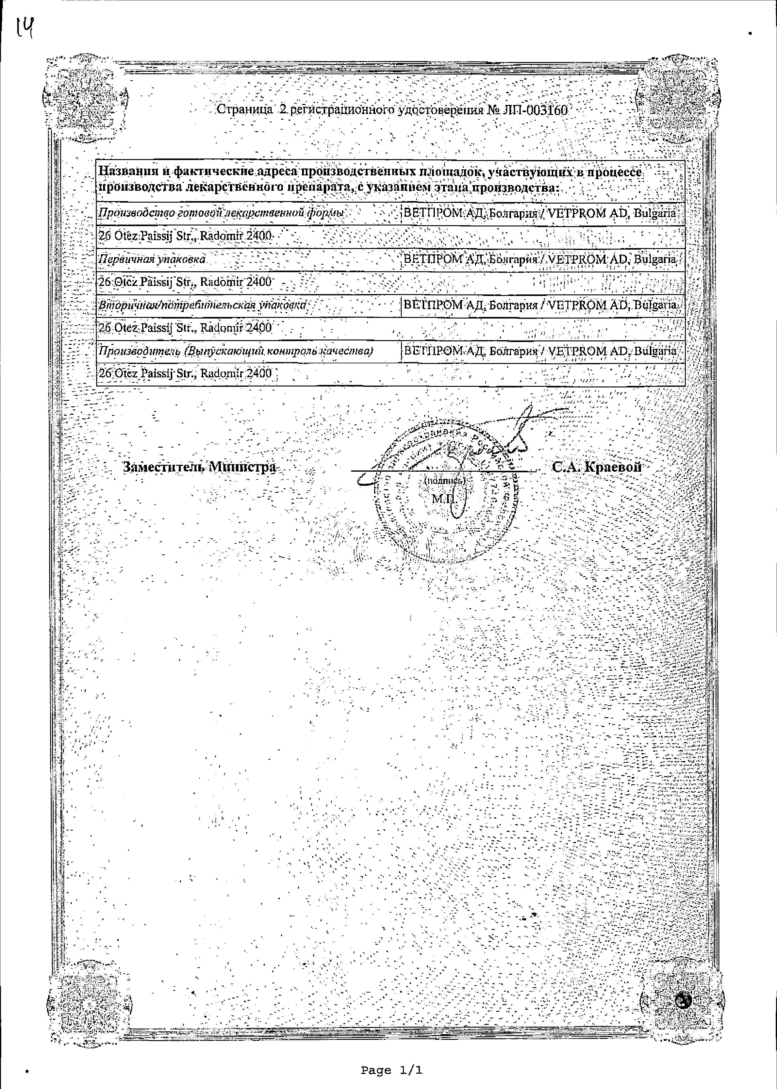 Троксиметацин сертификат