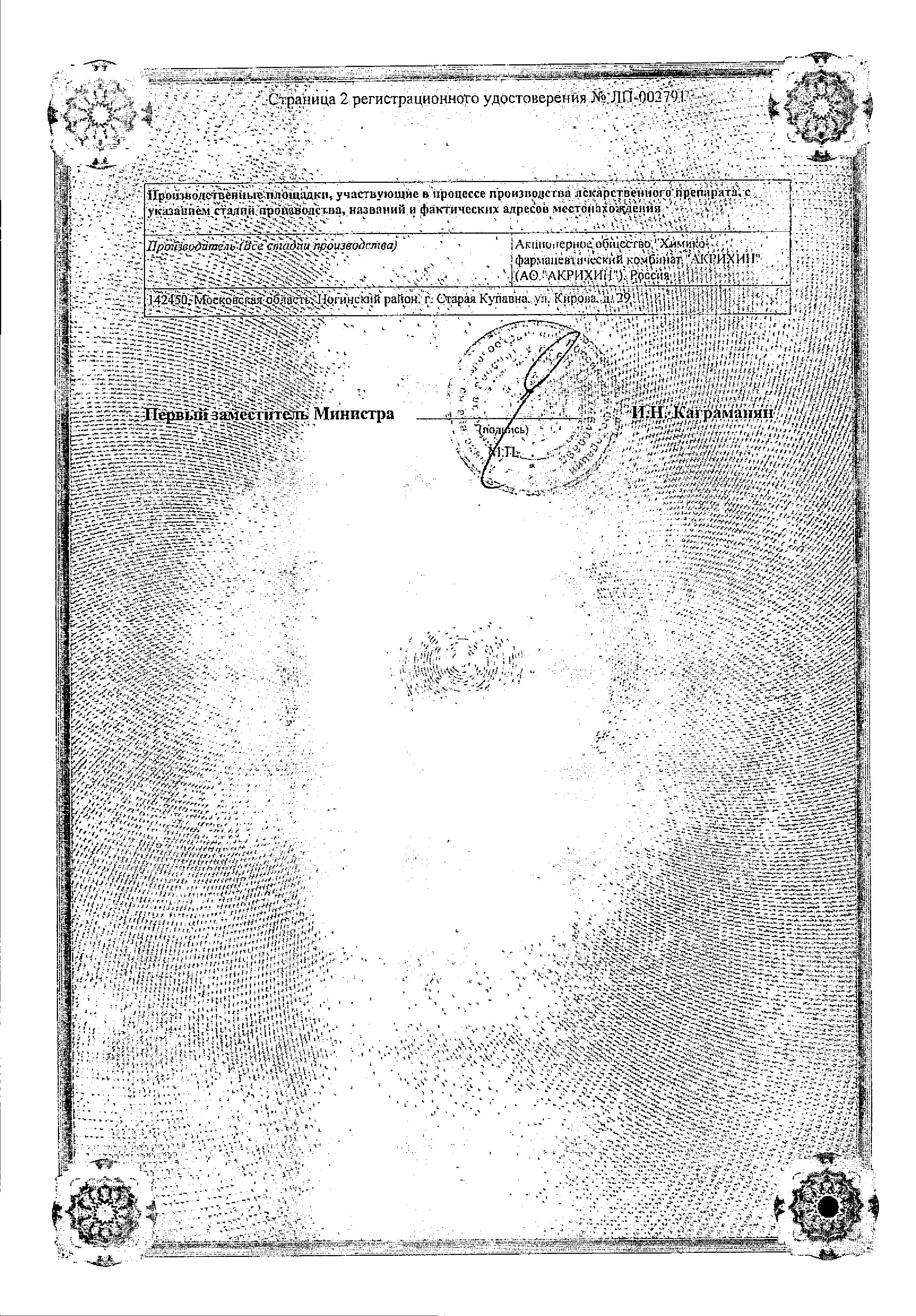 Рамиприл сертификат