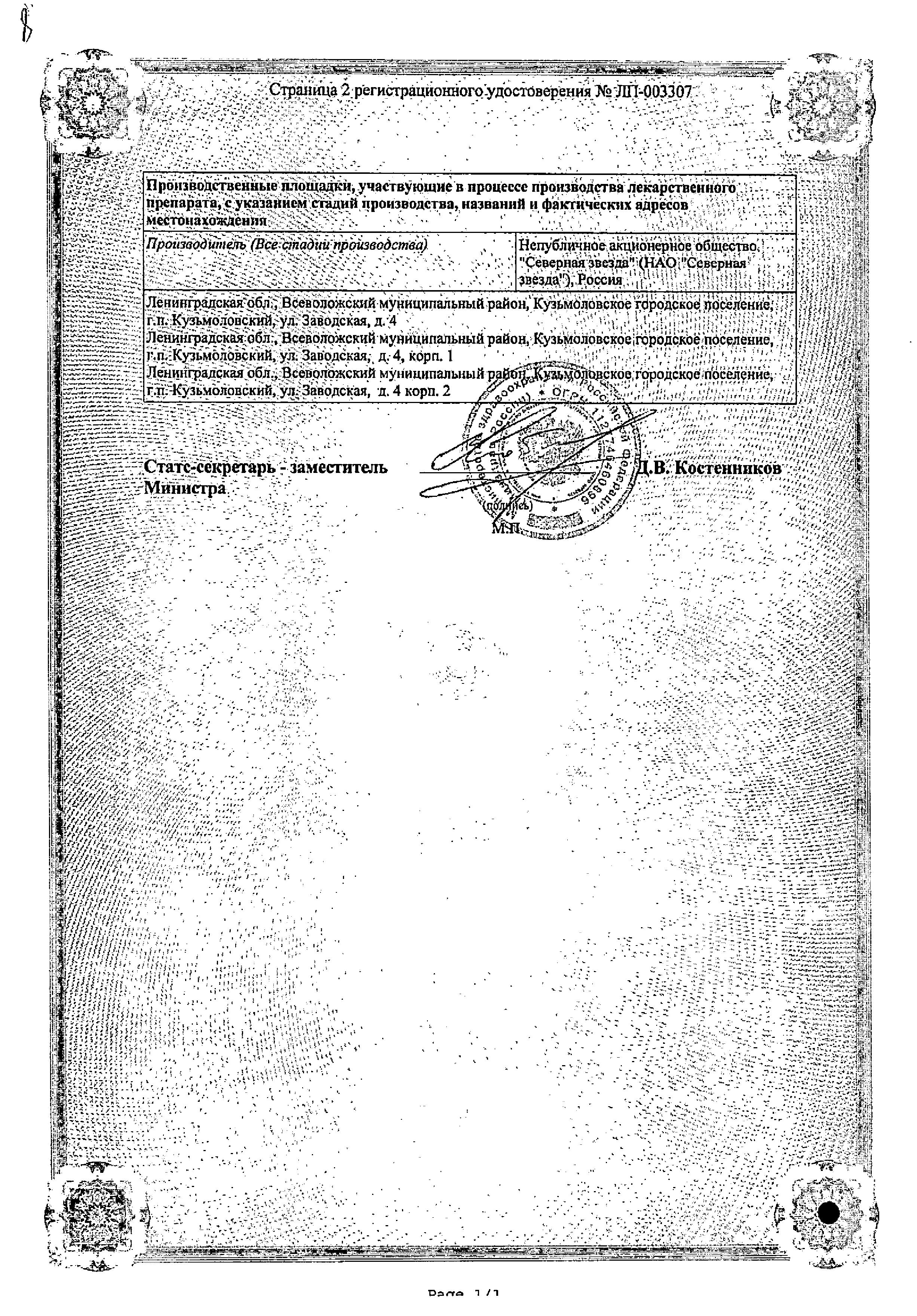 Торасемид-СЗ сертификат