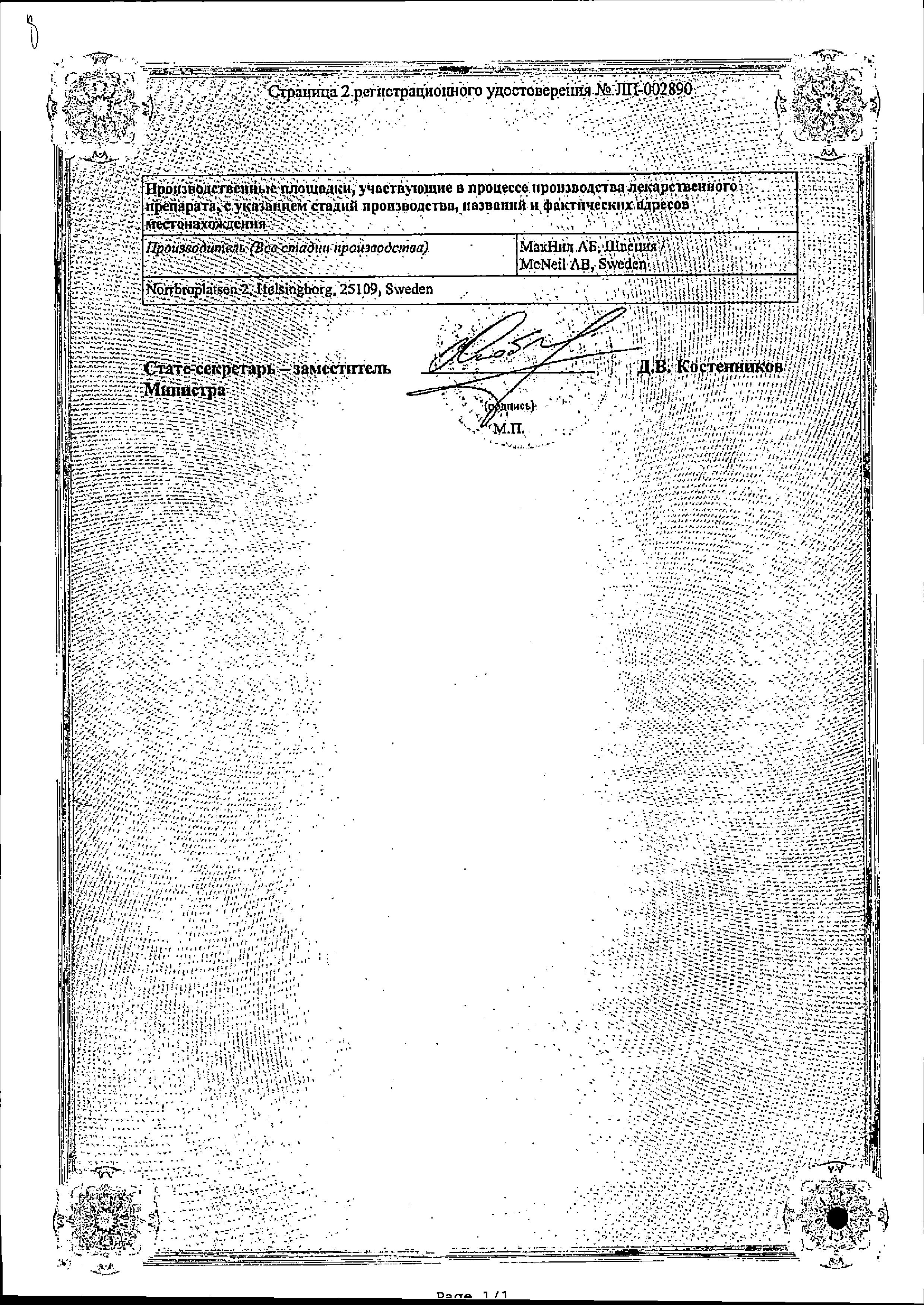 Никоретте сертификат