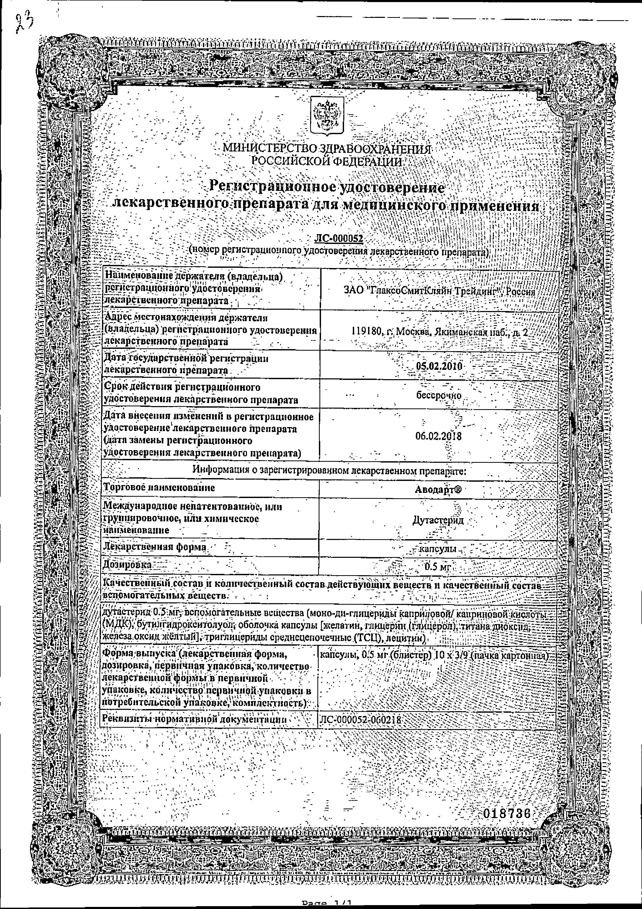 Аводарт сертификат