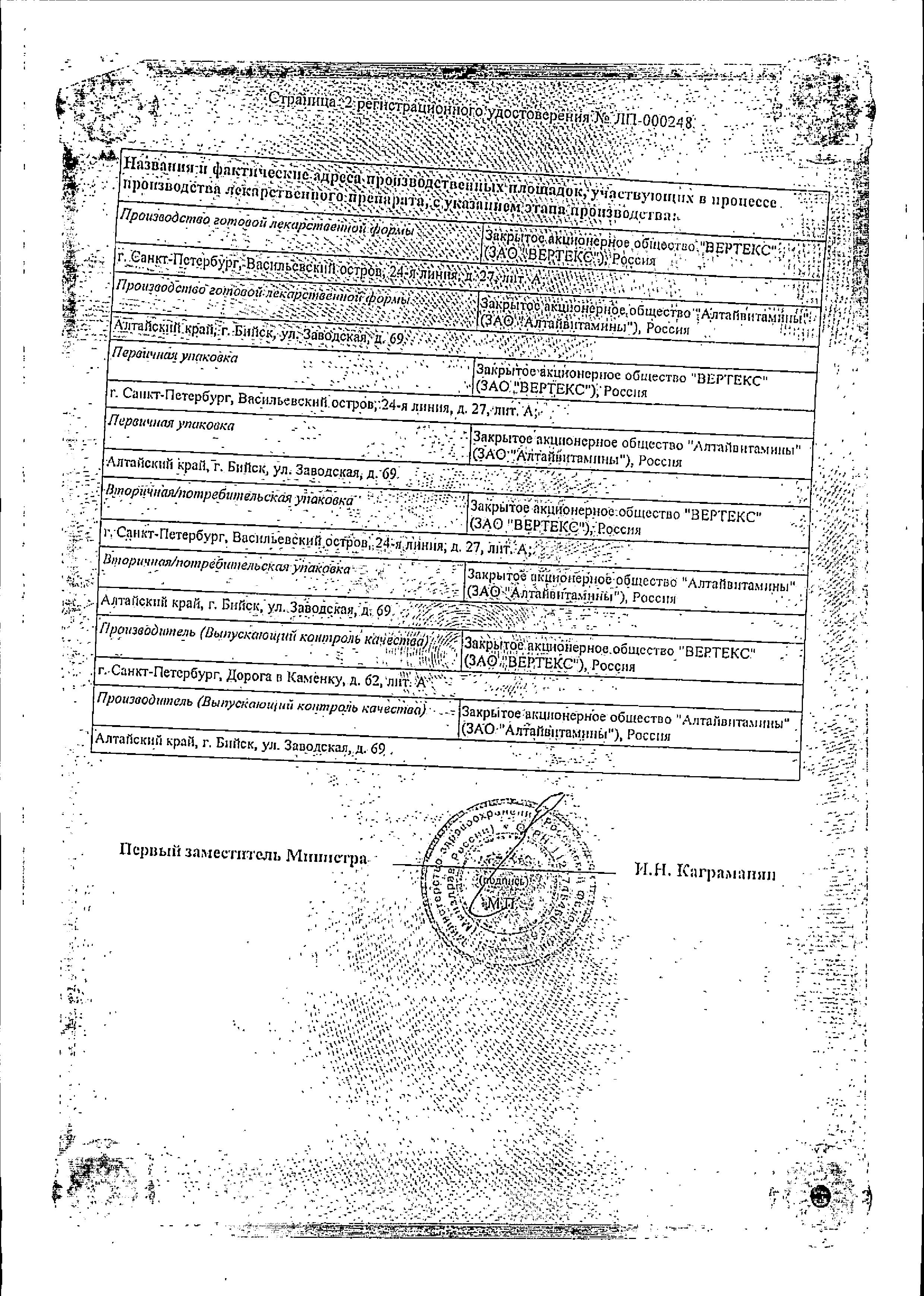 Орниона сертификат