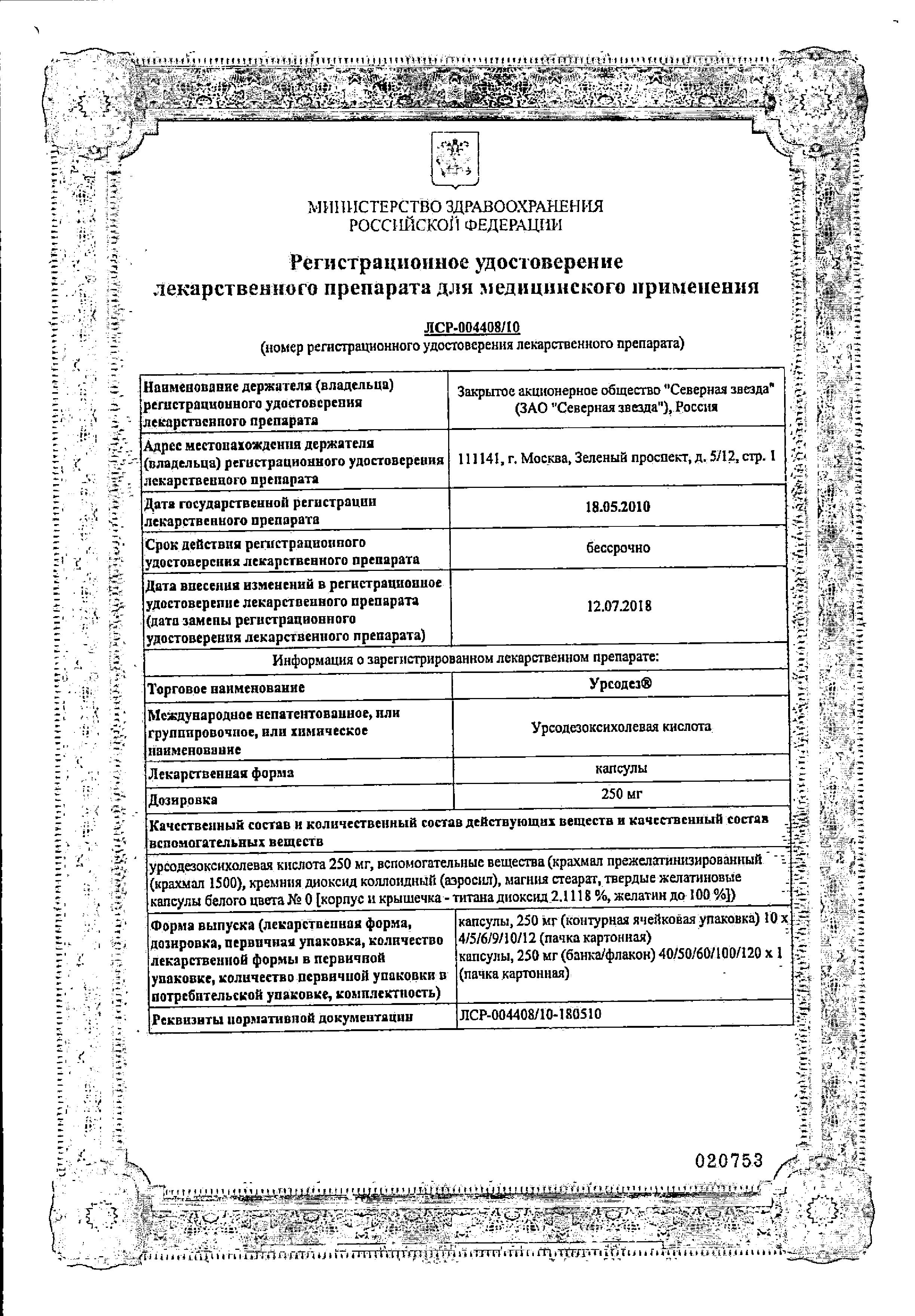 Урсодез сертификат