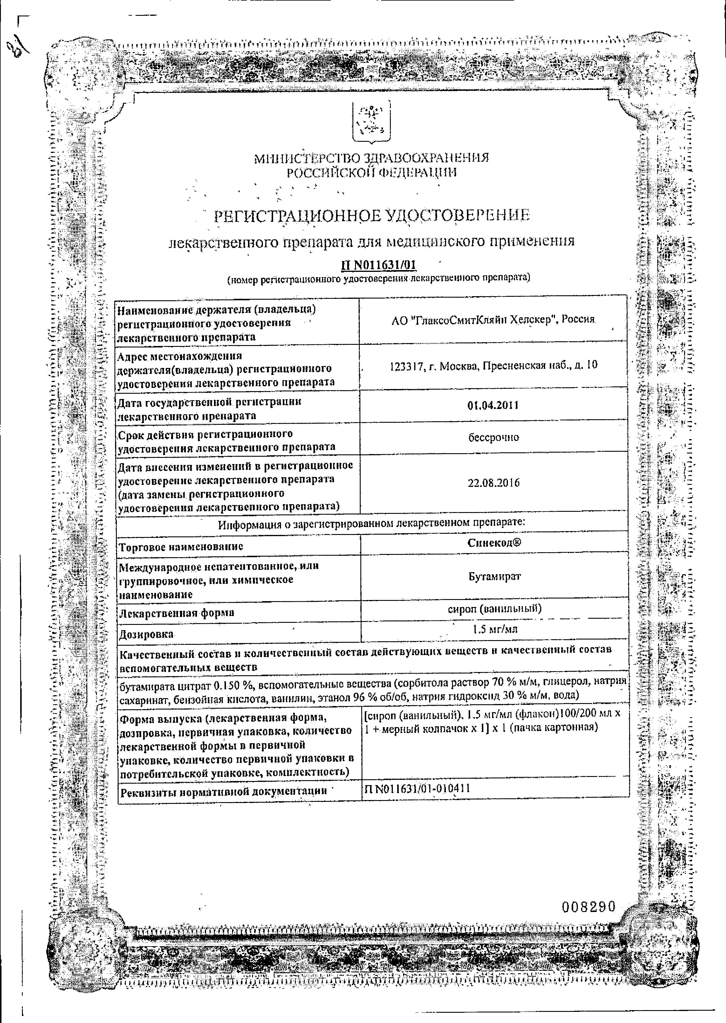 Синекод сертификат