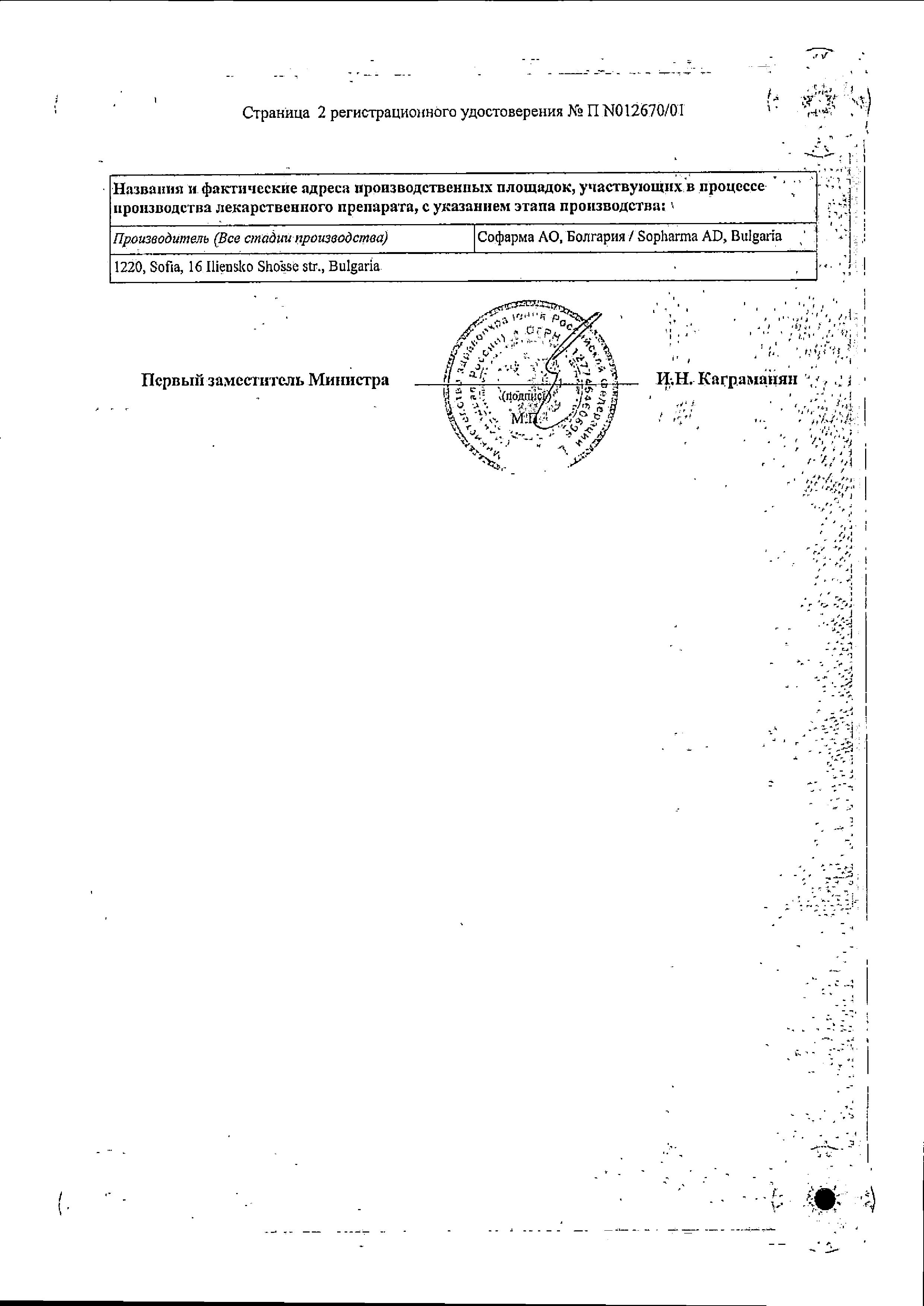 Спазмалгон (для инъекций) сертификат