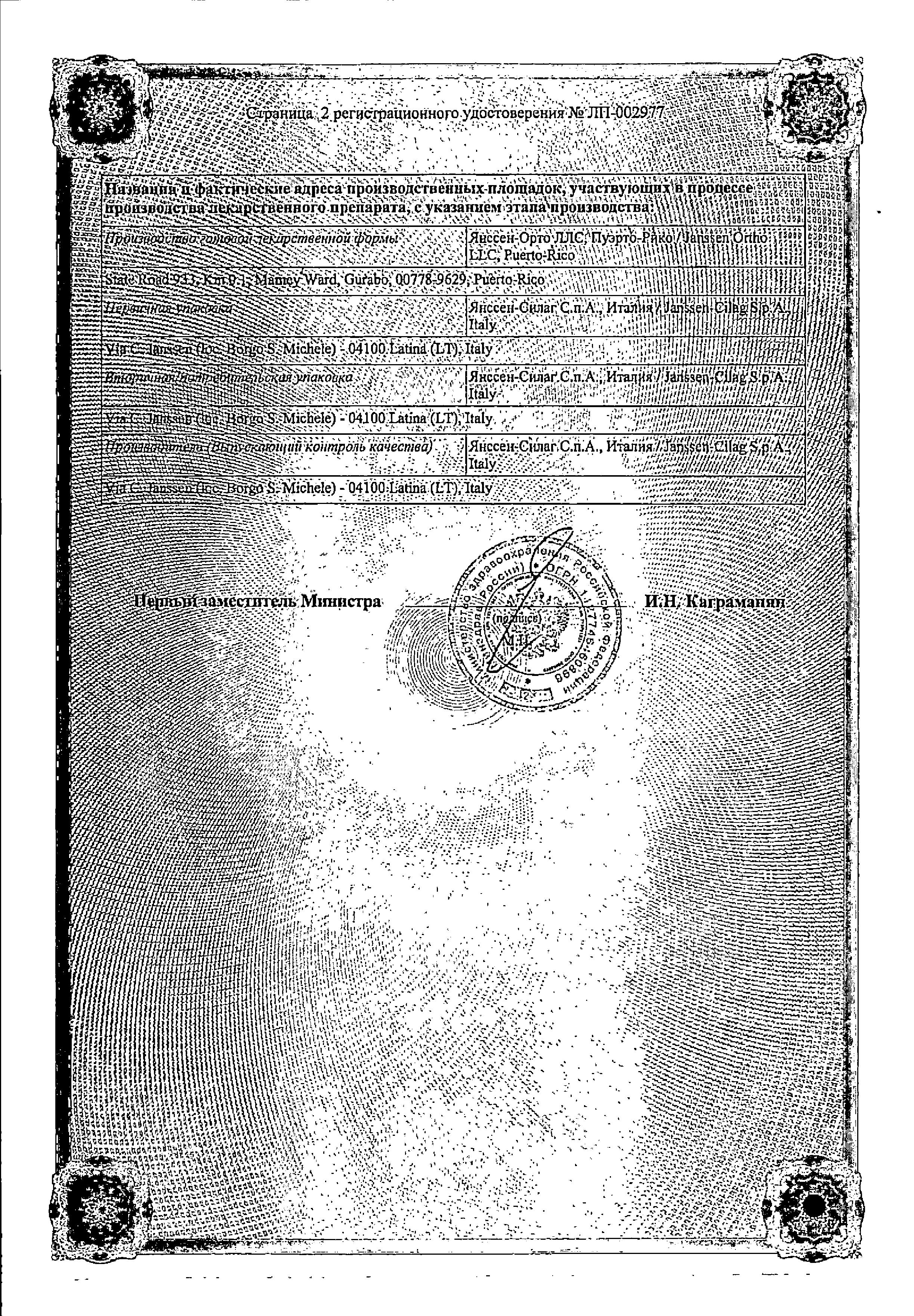 Инвокана сертификат