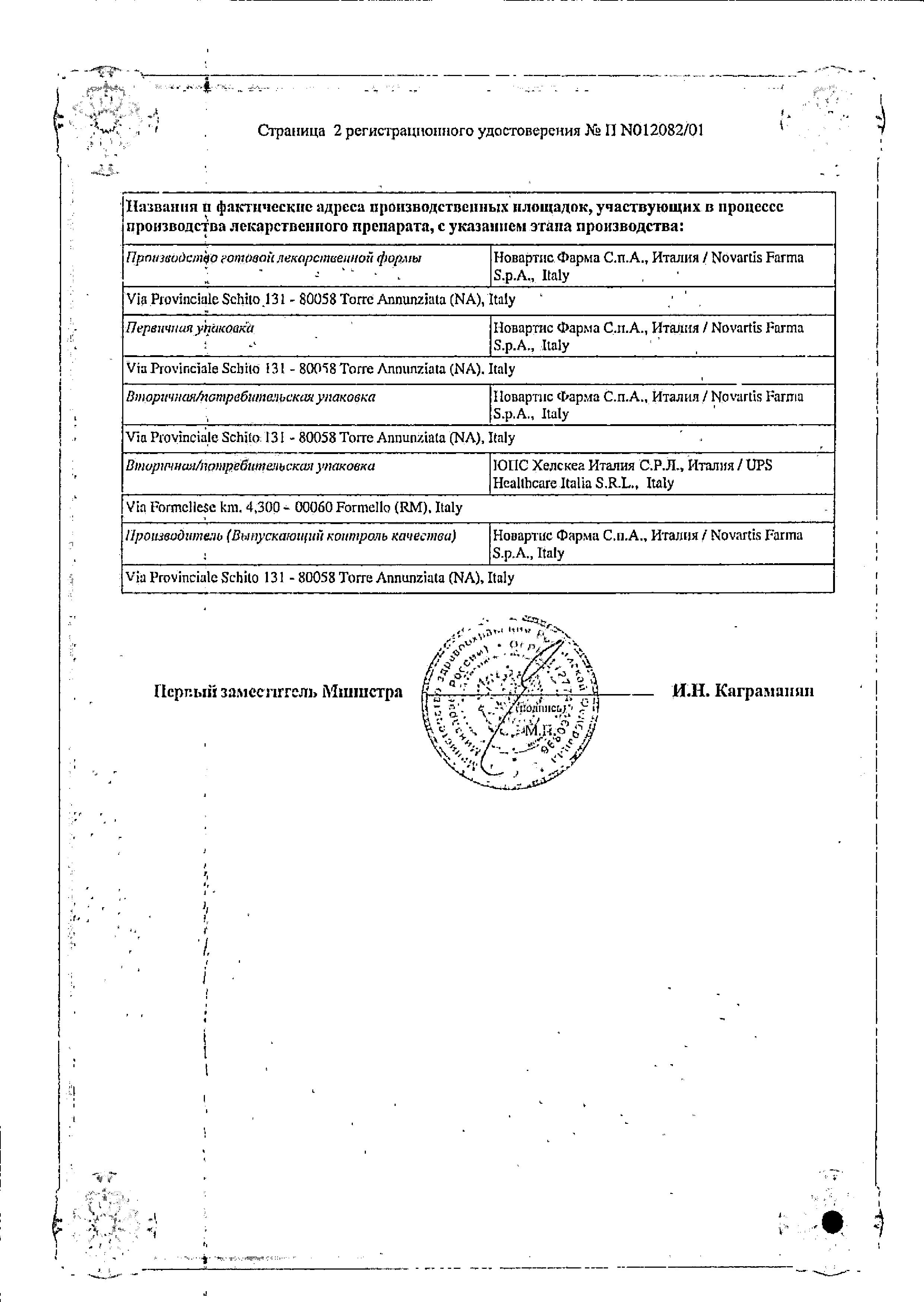 Тегретол ЦР сертификат