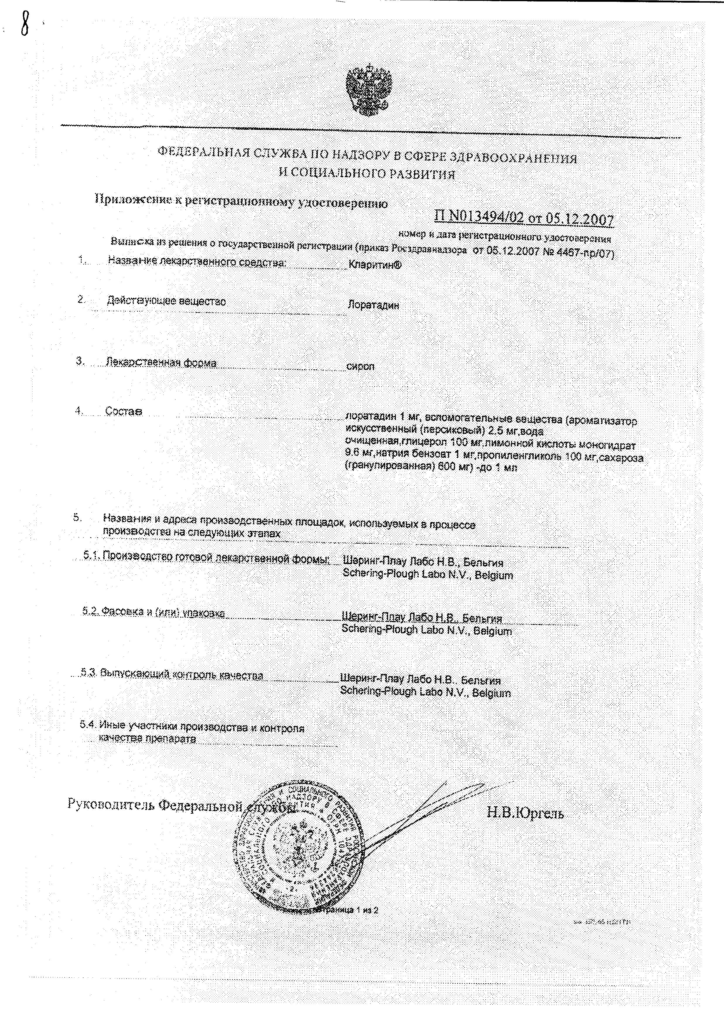 Кларитин сертификат