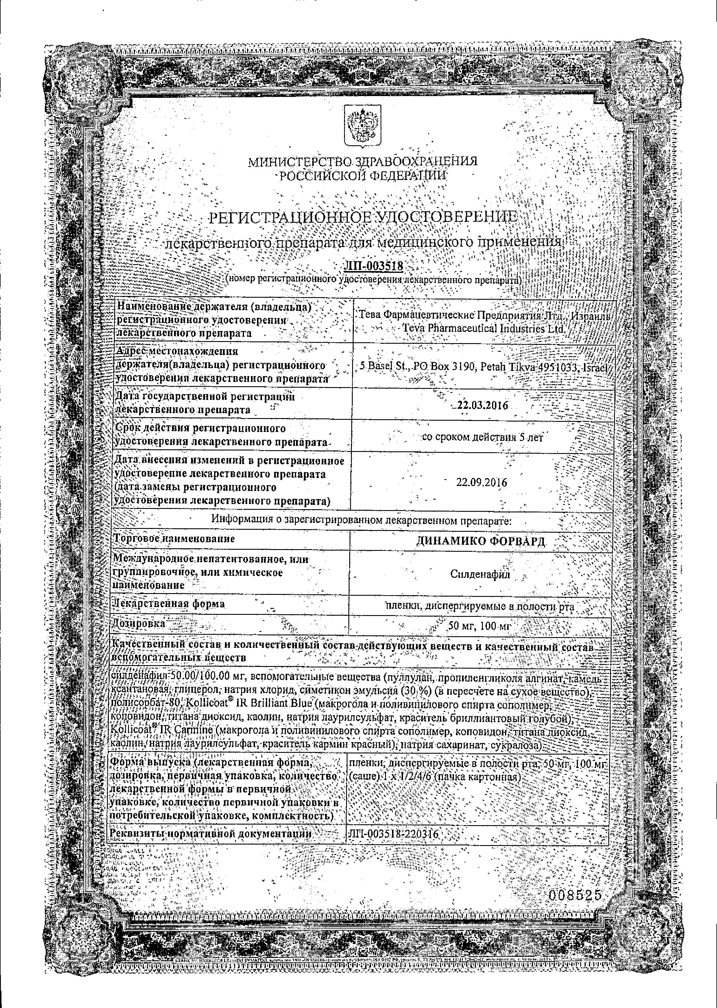 Динамико Форвард сертификат