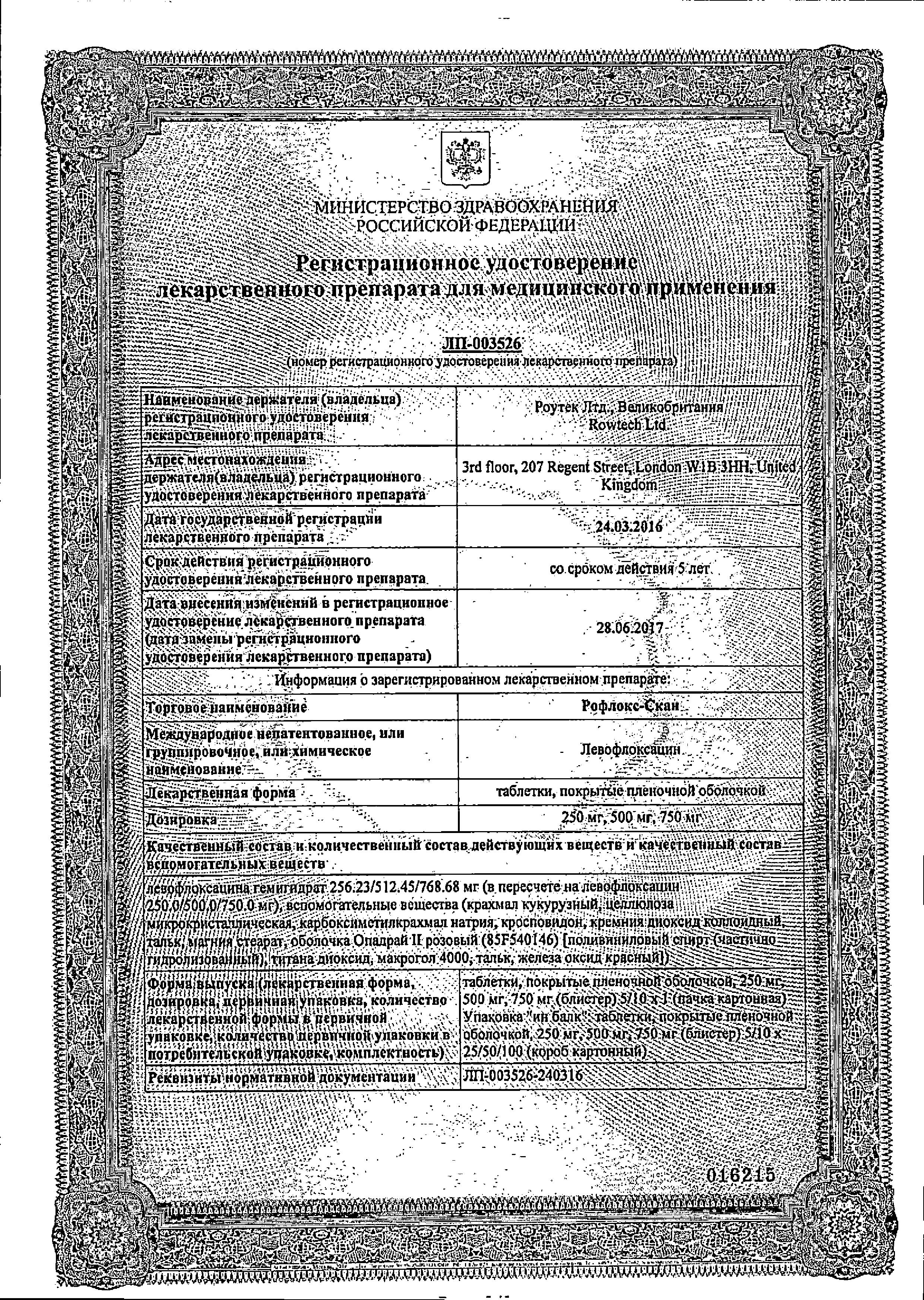 Рофлокс-Скан сертификат