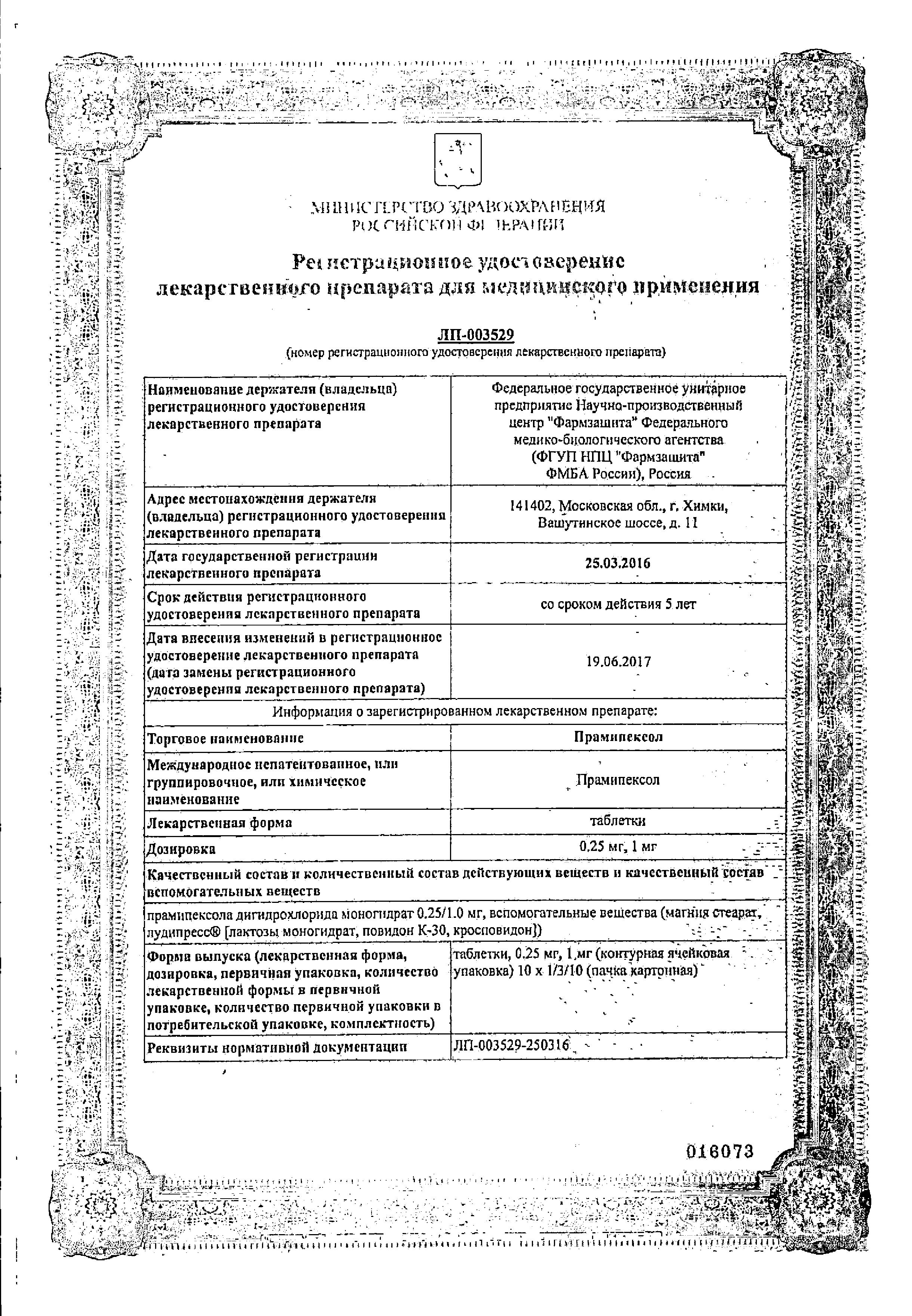 Прамипексол сертификат