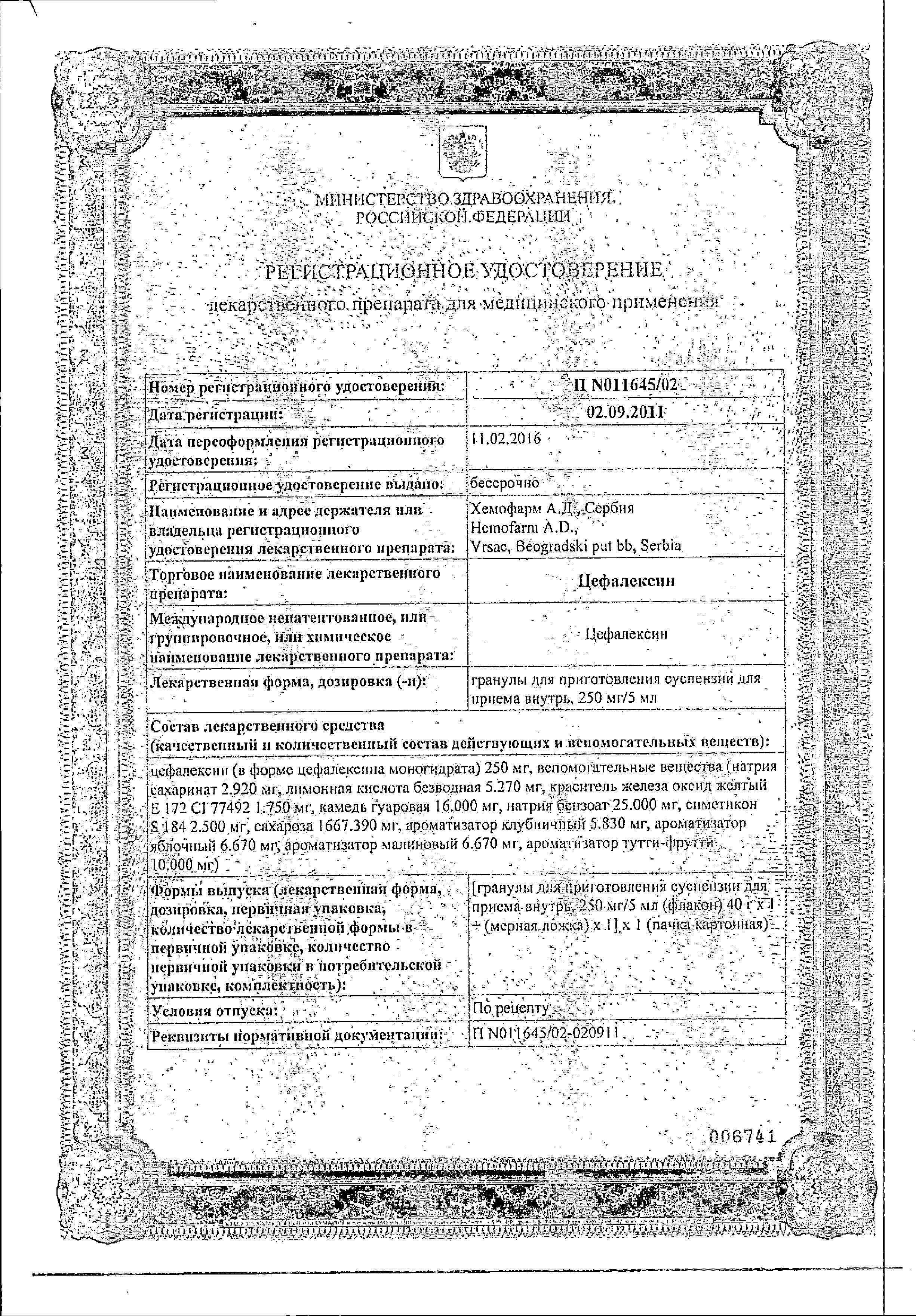Цефалексин сертификат