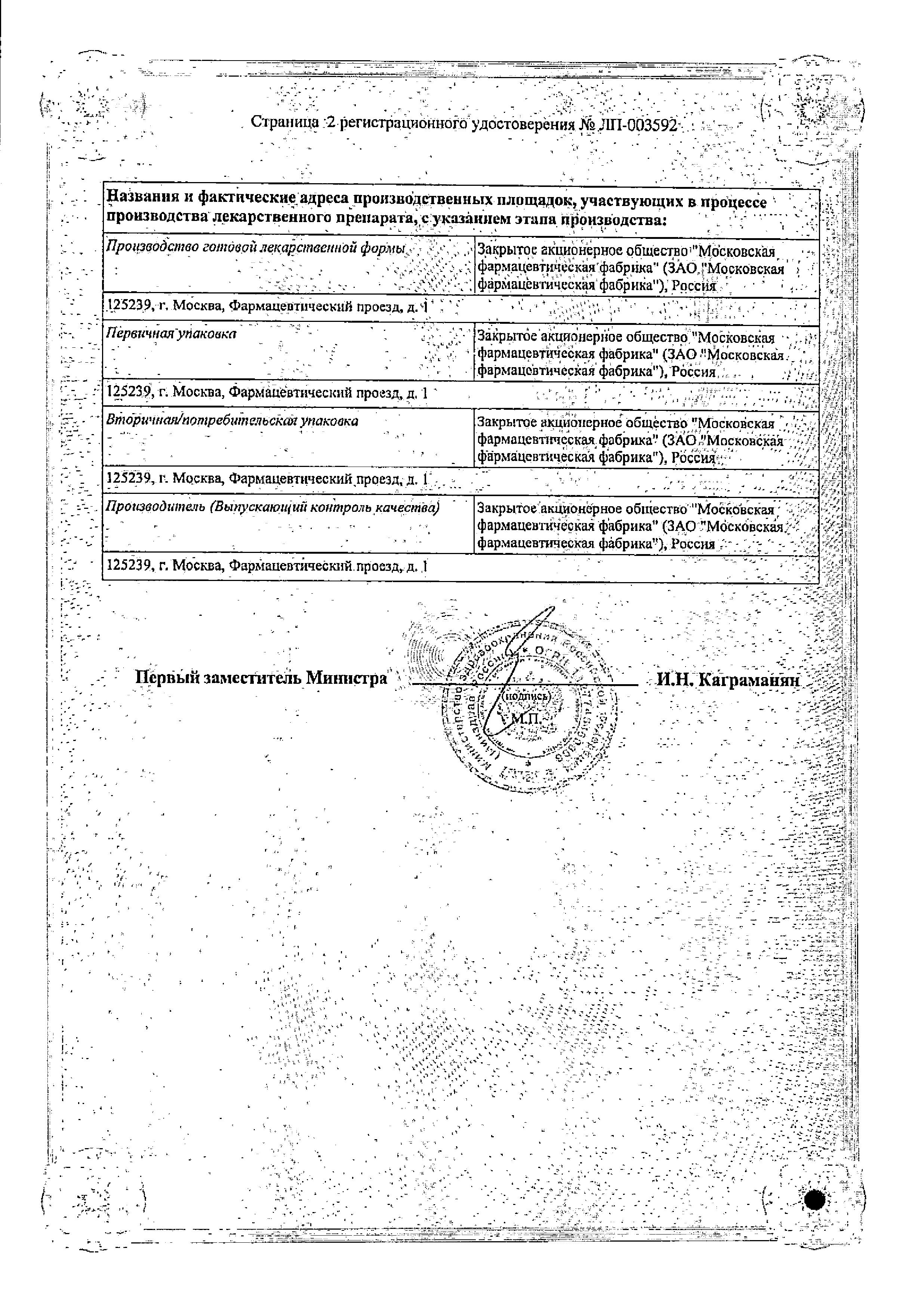 Долонит-МосФарма сертификат