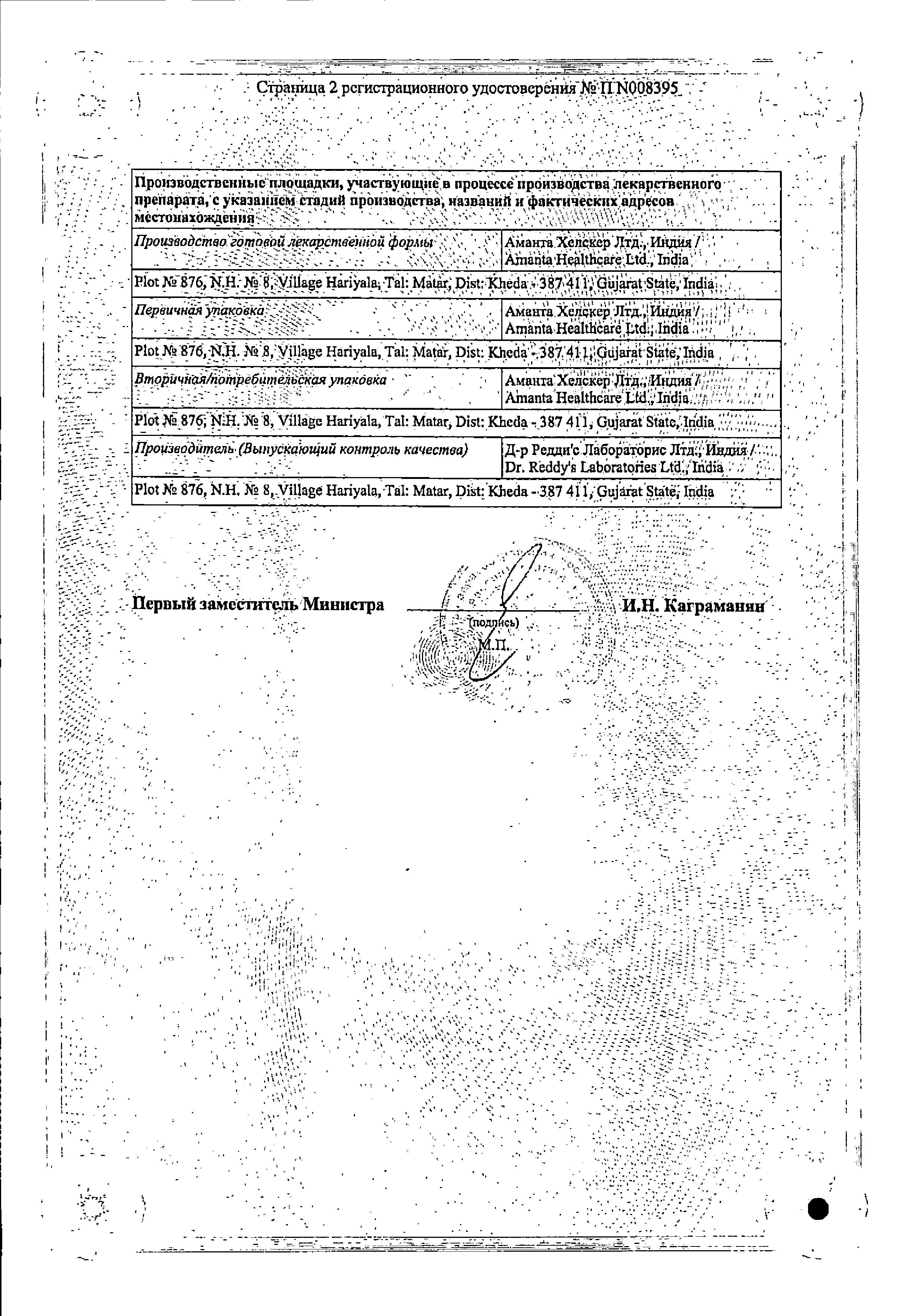 Ципролет (для инфузий) сертификат